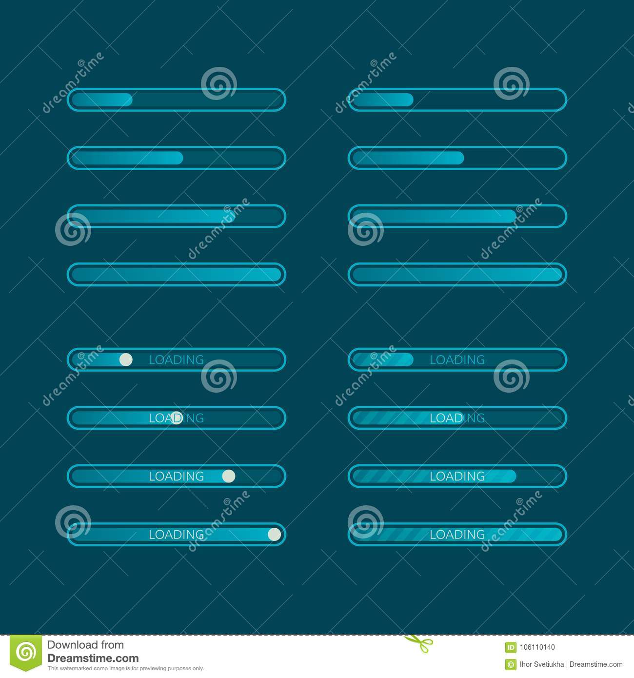 Website graphic progress loading. Set of flat download indicator. Vector illustration