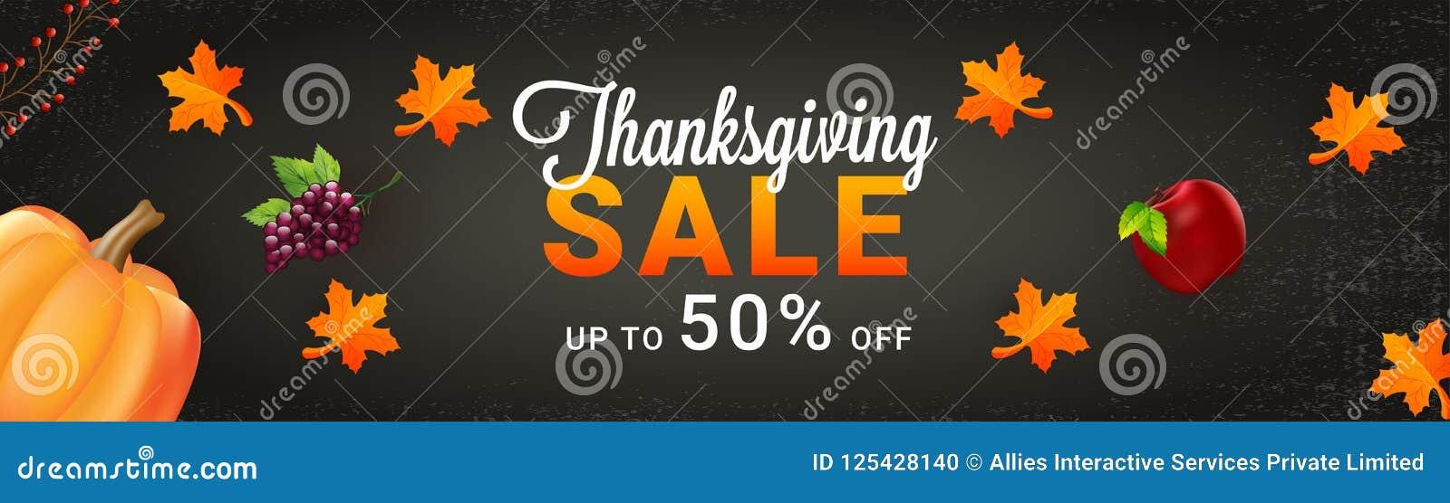 Website header or banner design, Upto 50  offer sale for Thanksgiving celebration concept with illustration of grapes, apple pump