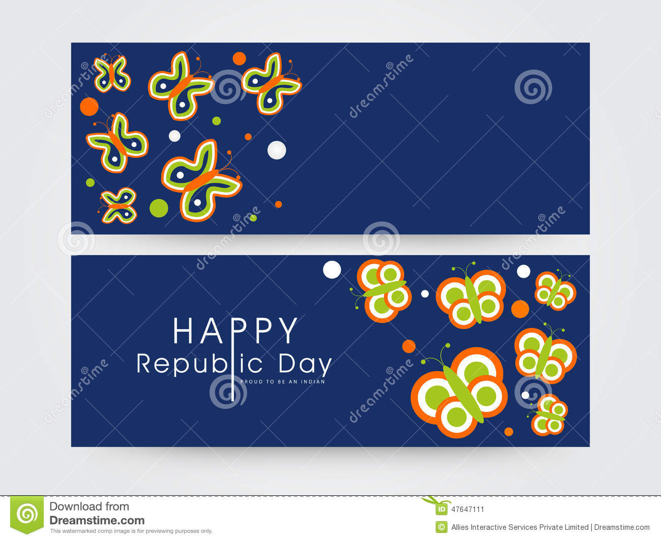 Indian Flag Butterflies: Website Header Or Banner For Republic Day. Stock