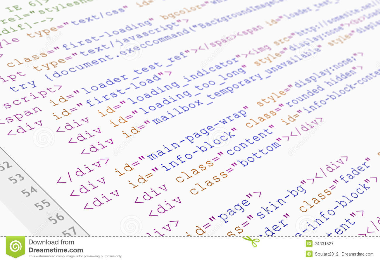website html code browser view on white background royalty free