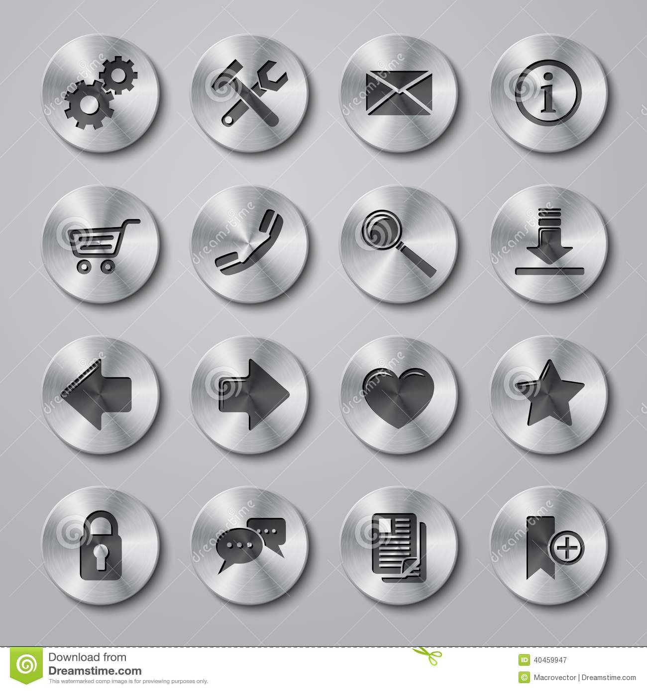 website icons metal stock vector illustration of internet 40459947
