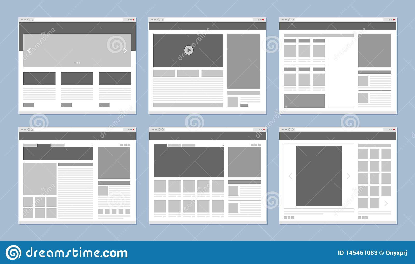 Website layout. Web pages template internet browser window with banners and ui elements icons vector design