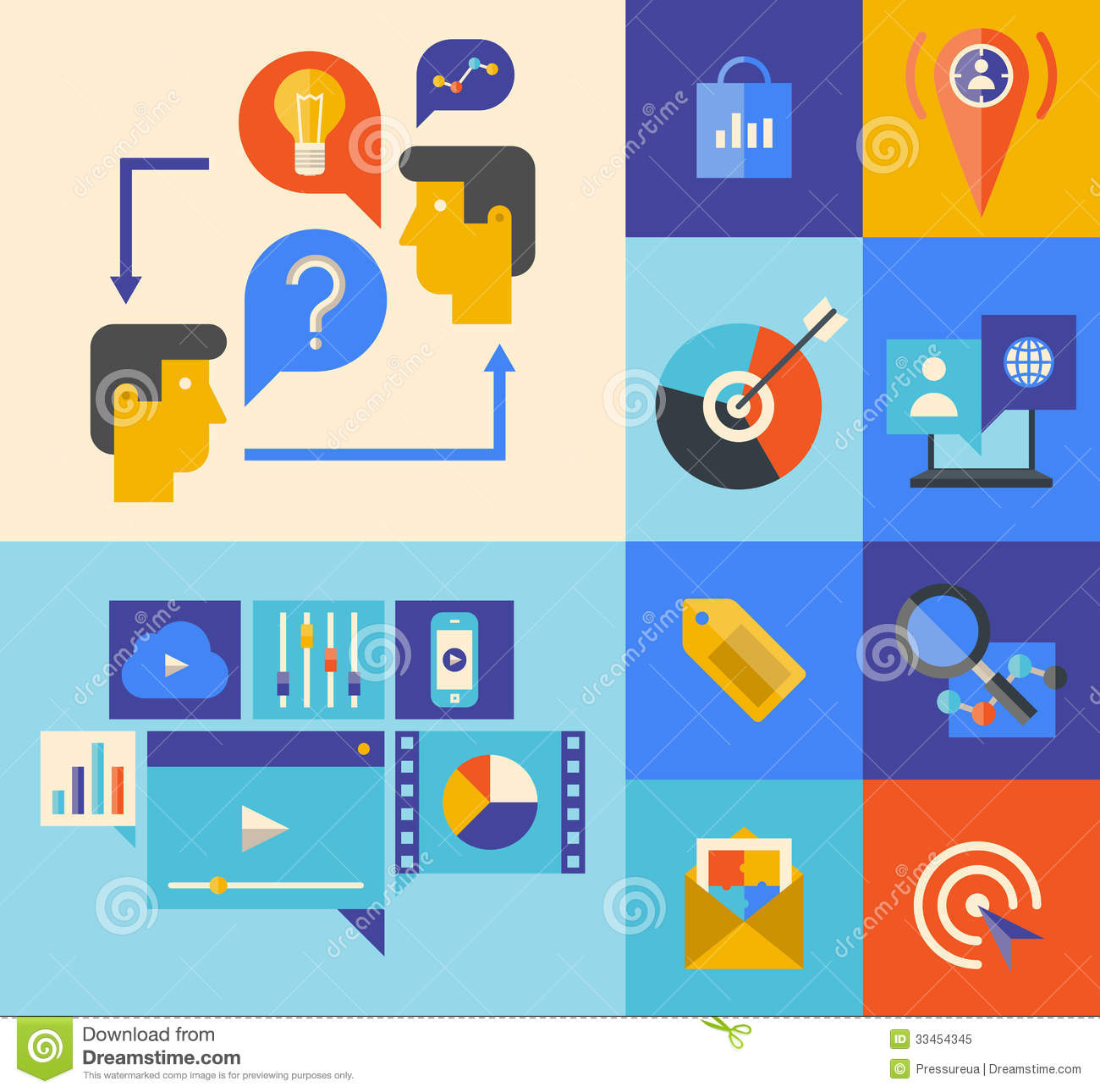 Vector Illustration Web Designs: Website Marketing And Brainstorming Icons Stock Vector