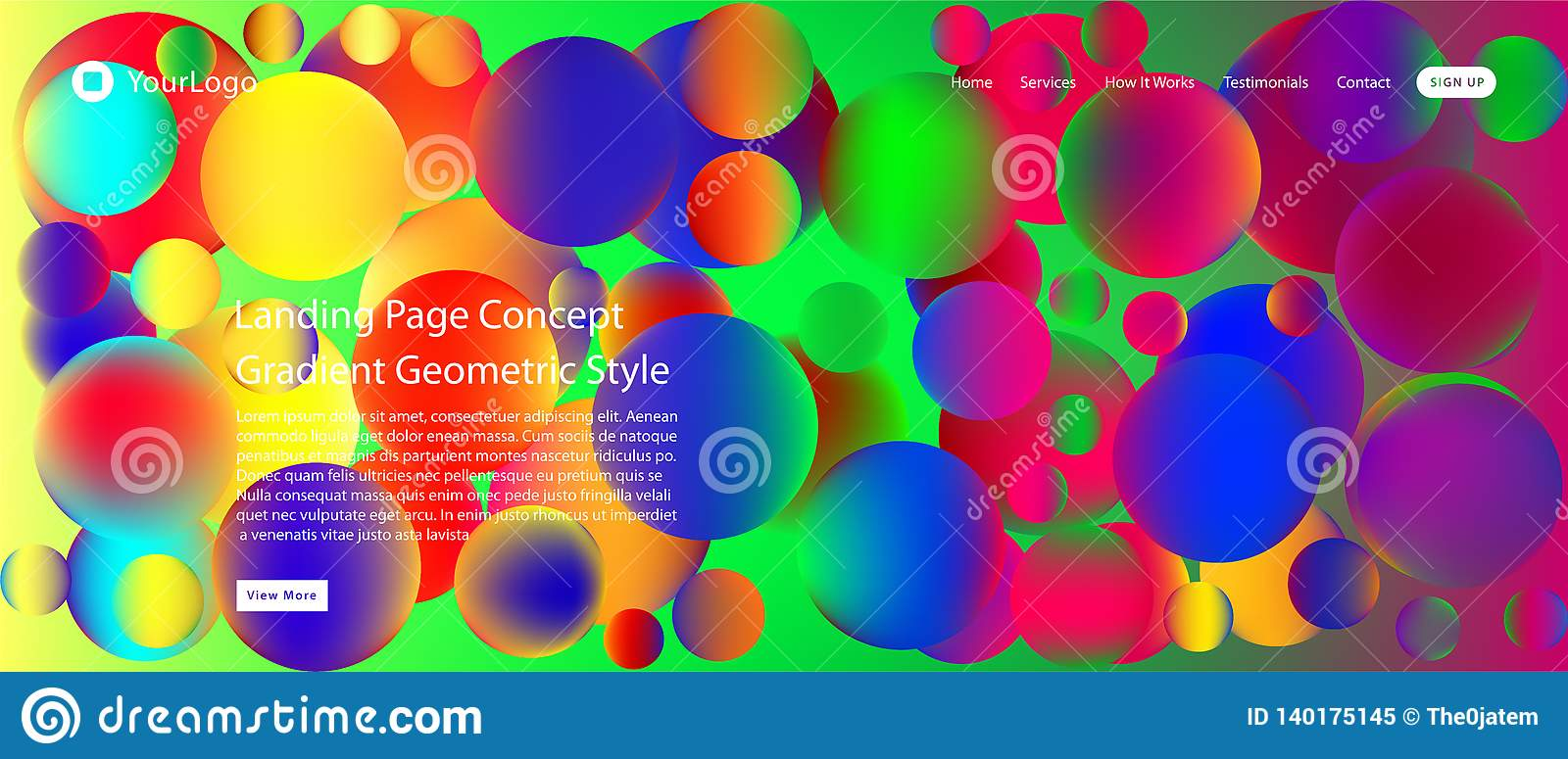 Website or mobile app landing page with illustration of Abstract Colorful Minimal Geometric Pattern Background Design and Gradient