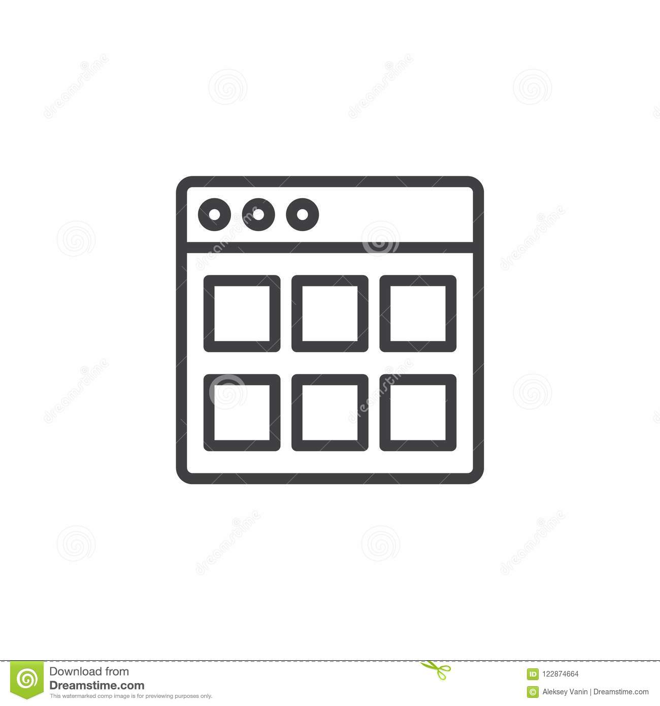 Website Modules outline icon