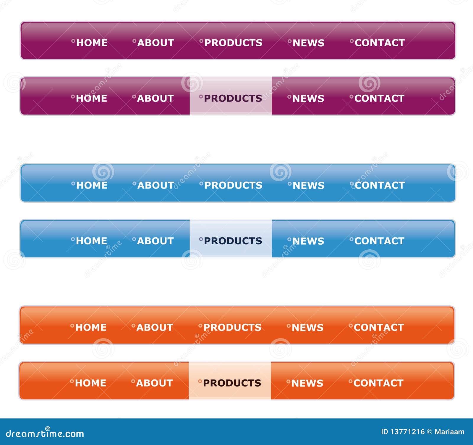 web menu: