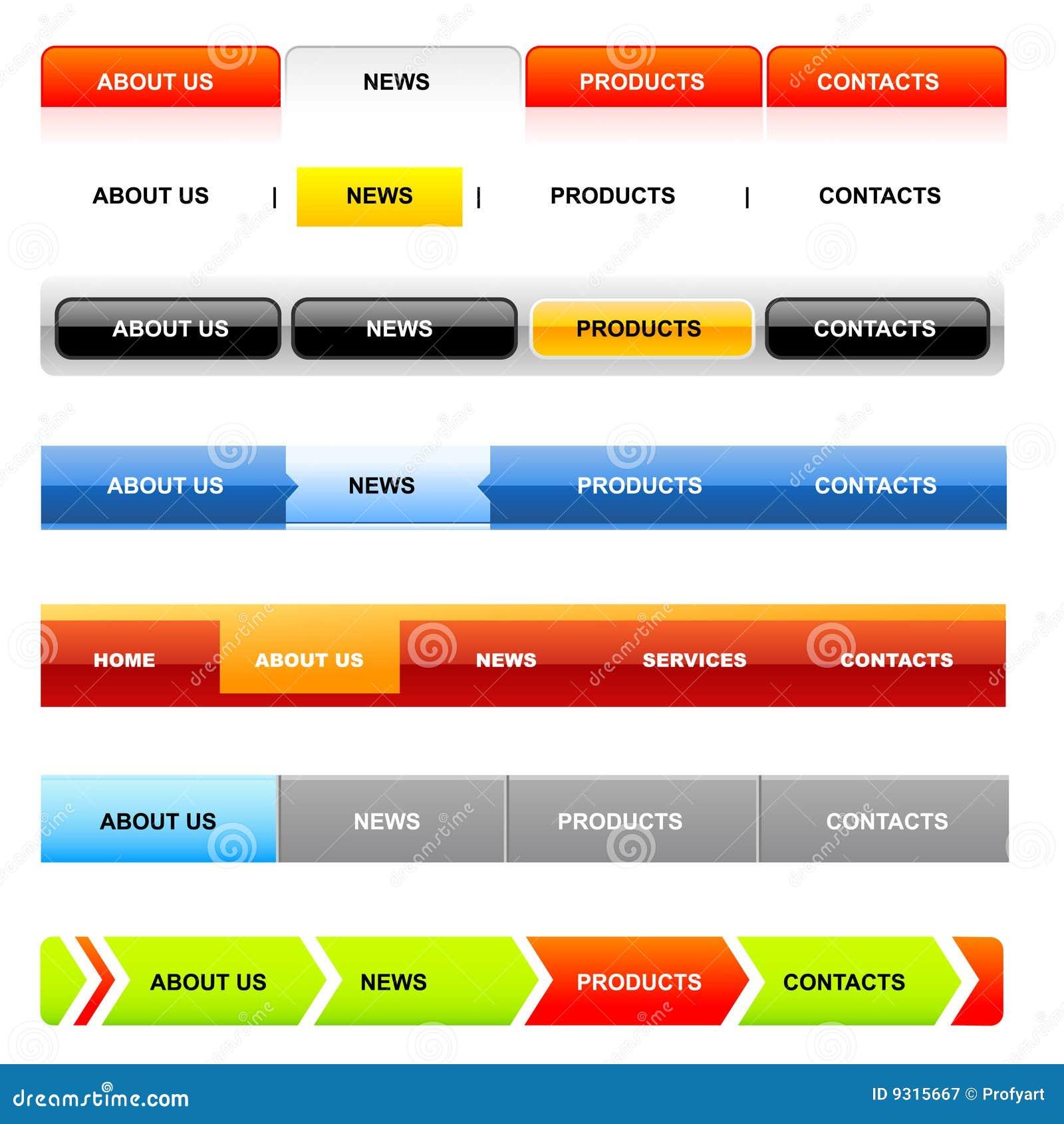 Web Design Navigation Bar Templates