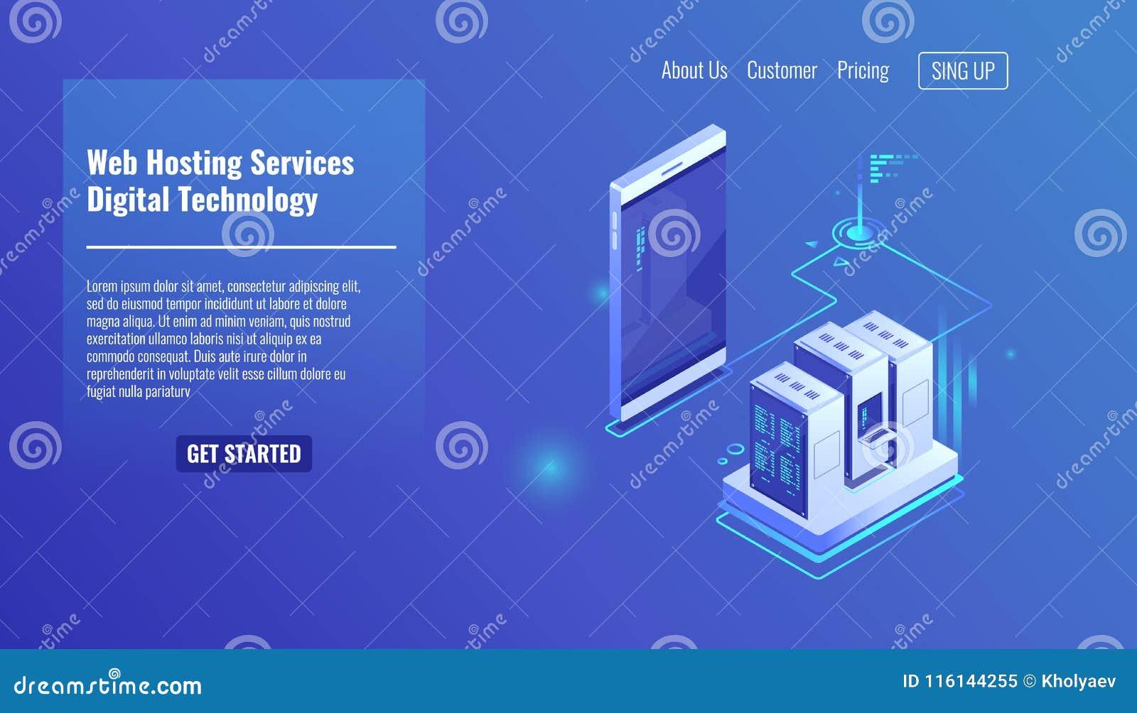 Website och weapplication som är värd, serverrumkugge, datautbyte, mapptrafik, isometrisk mobiltelefon för reserv- kopia
