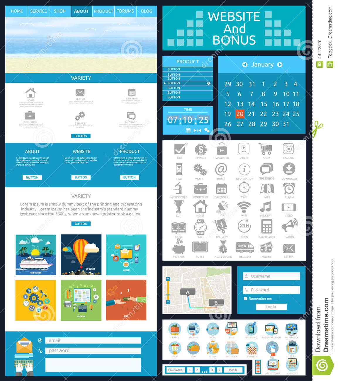 Website Page Template Web Design Stock Vector Illustration Of