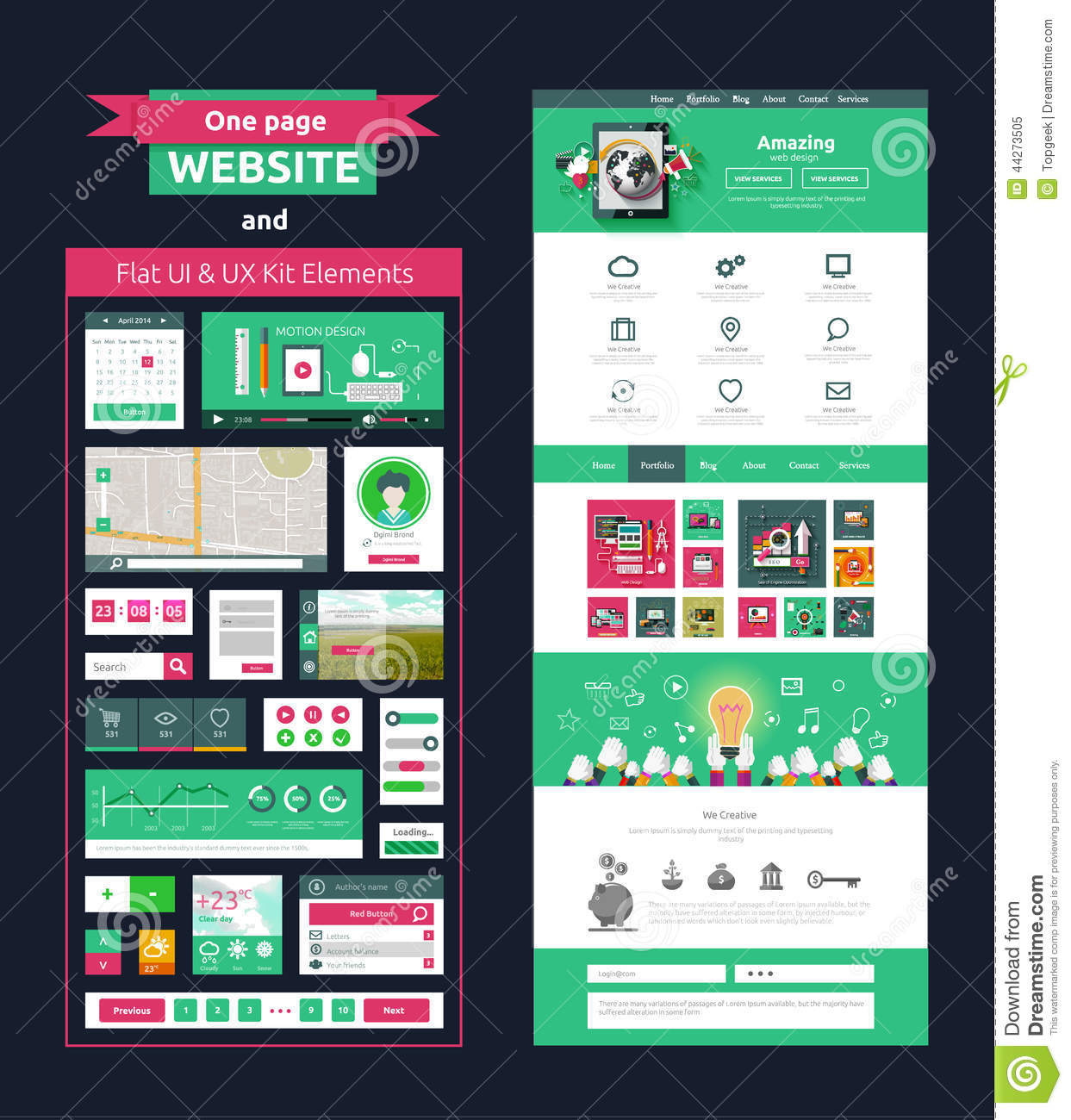 One page website design template and flat ui ux elements for Web page architecture