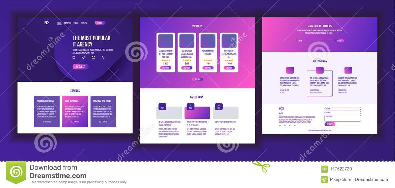 website page vector business agency web page design front end site scheme