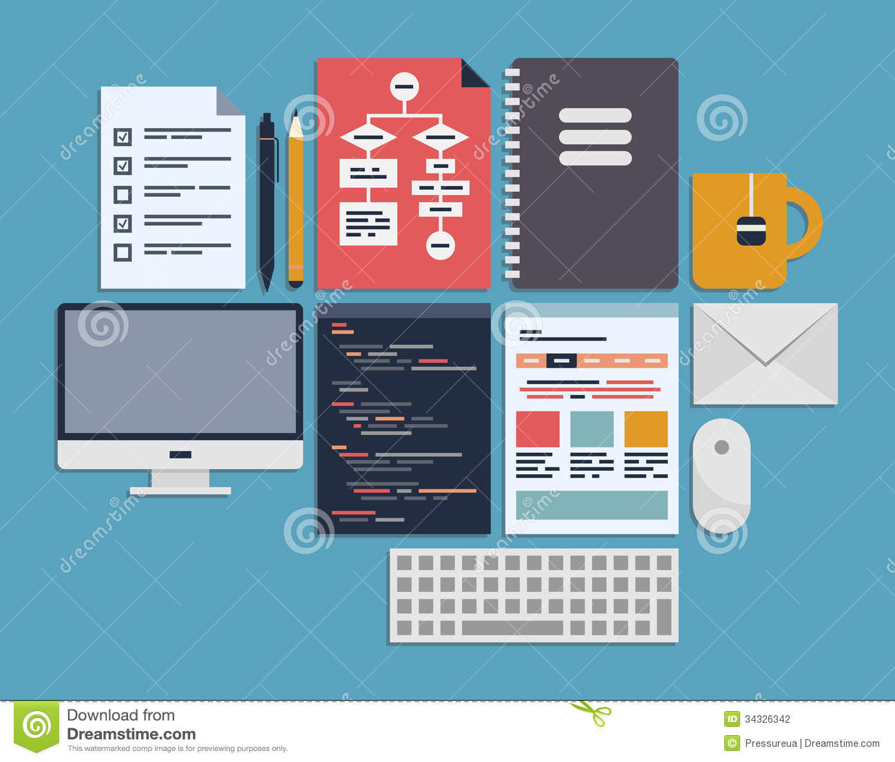 Website programming management stock vector image 34326342 for Website planning software