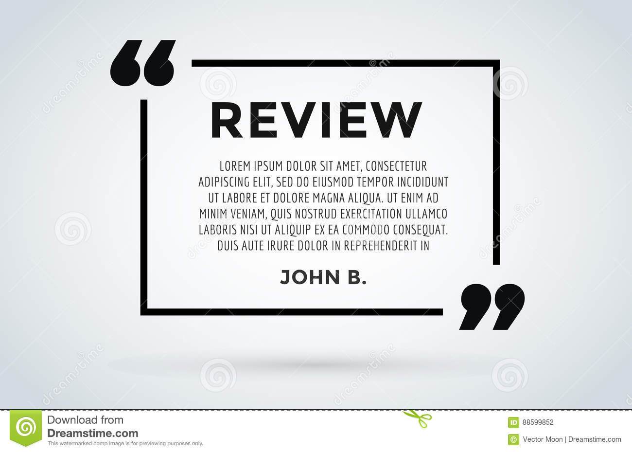 Website review quote citation blank template vector icon comment website review quote citation blank template vector icon quote comment template bubble shop customer review template circle review template paper sheet maxwellsz