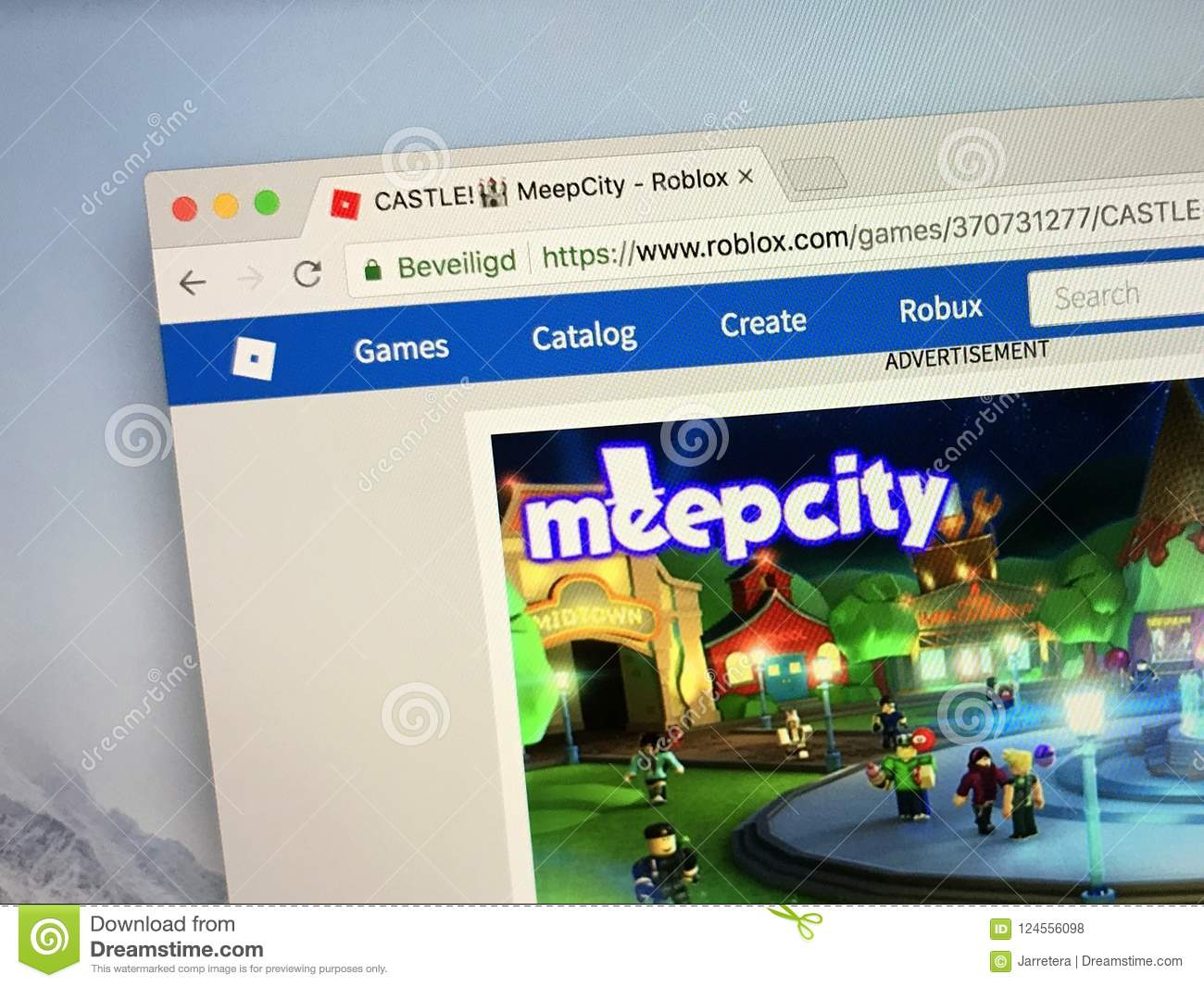 Roblox Game Night - Website Of The Roblox Game Meepcity Editorial Stock Photo Image