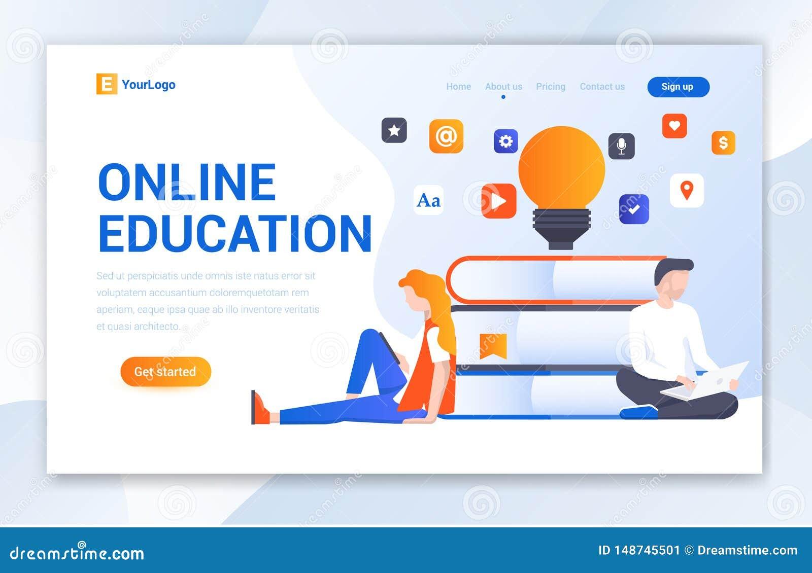 Website-Schablonenentwurf der on-line-Ausbildung kreativer - Vektor