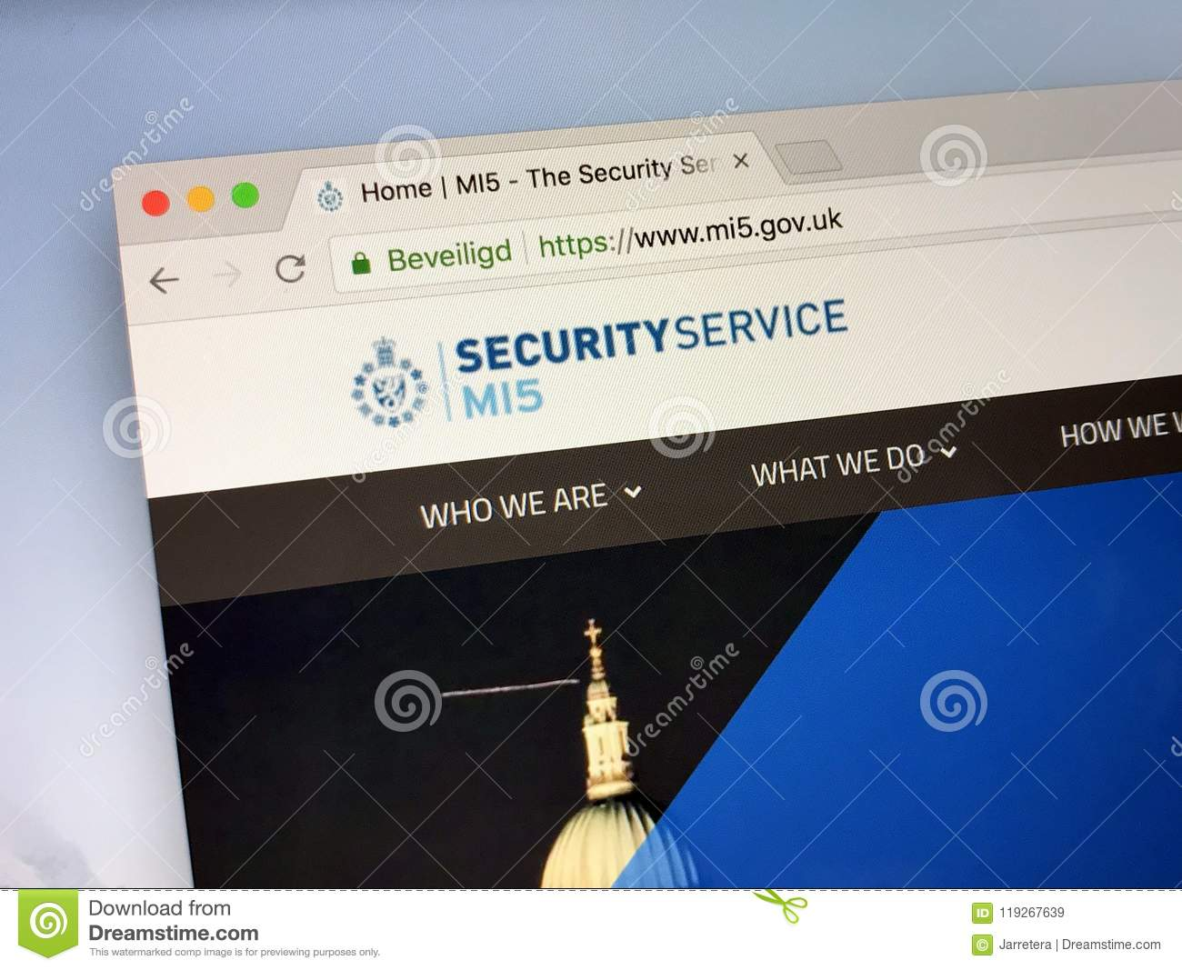 Website Of The Security Service, Also MI5 Editorial Stock
