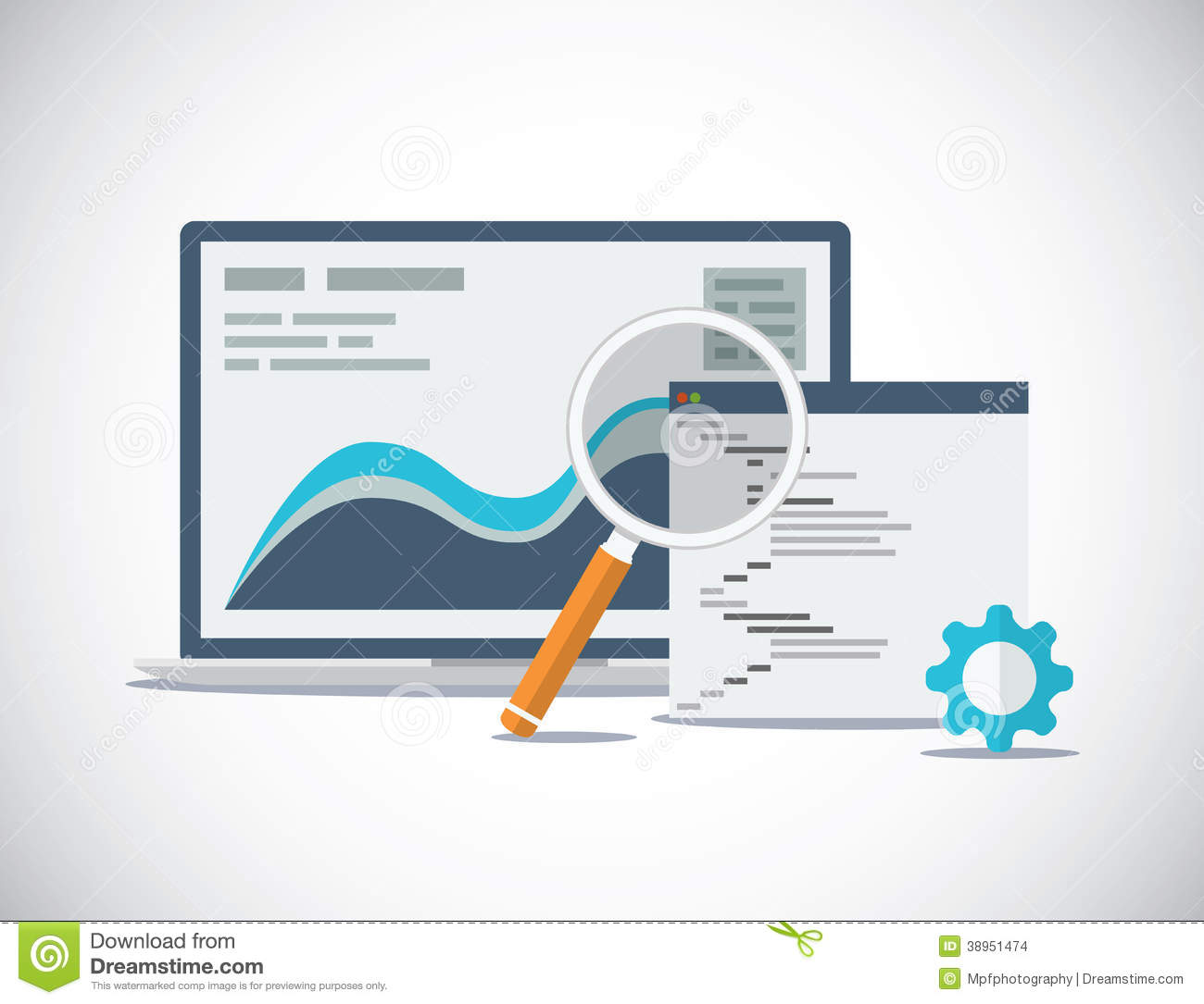 Website SEO analysis and process flat vector