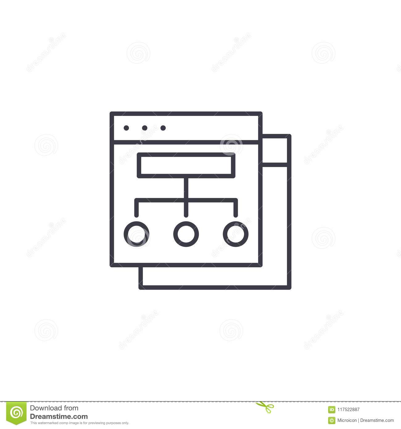 Website structure linear icon concept. Website structure line vector sign, symbol, illustration.