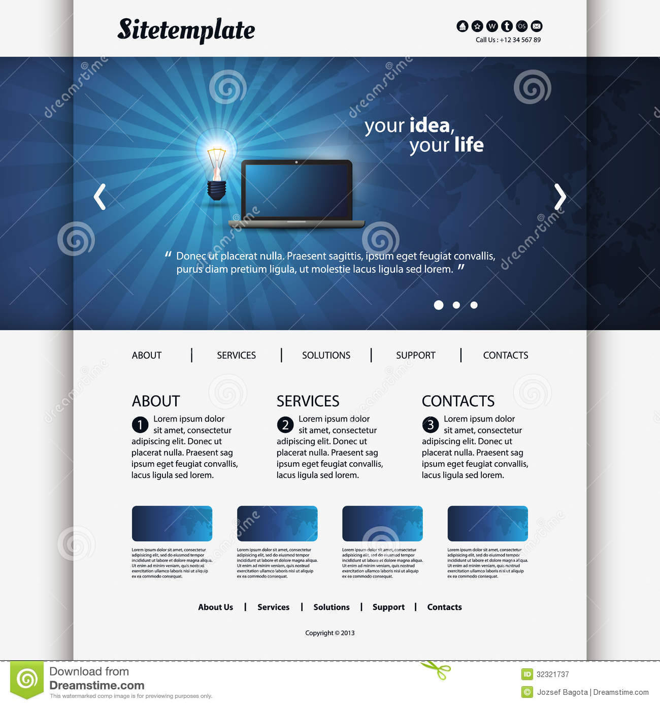 Website Template Royalty Free Stock Photography - Image: 32321737