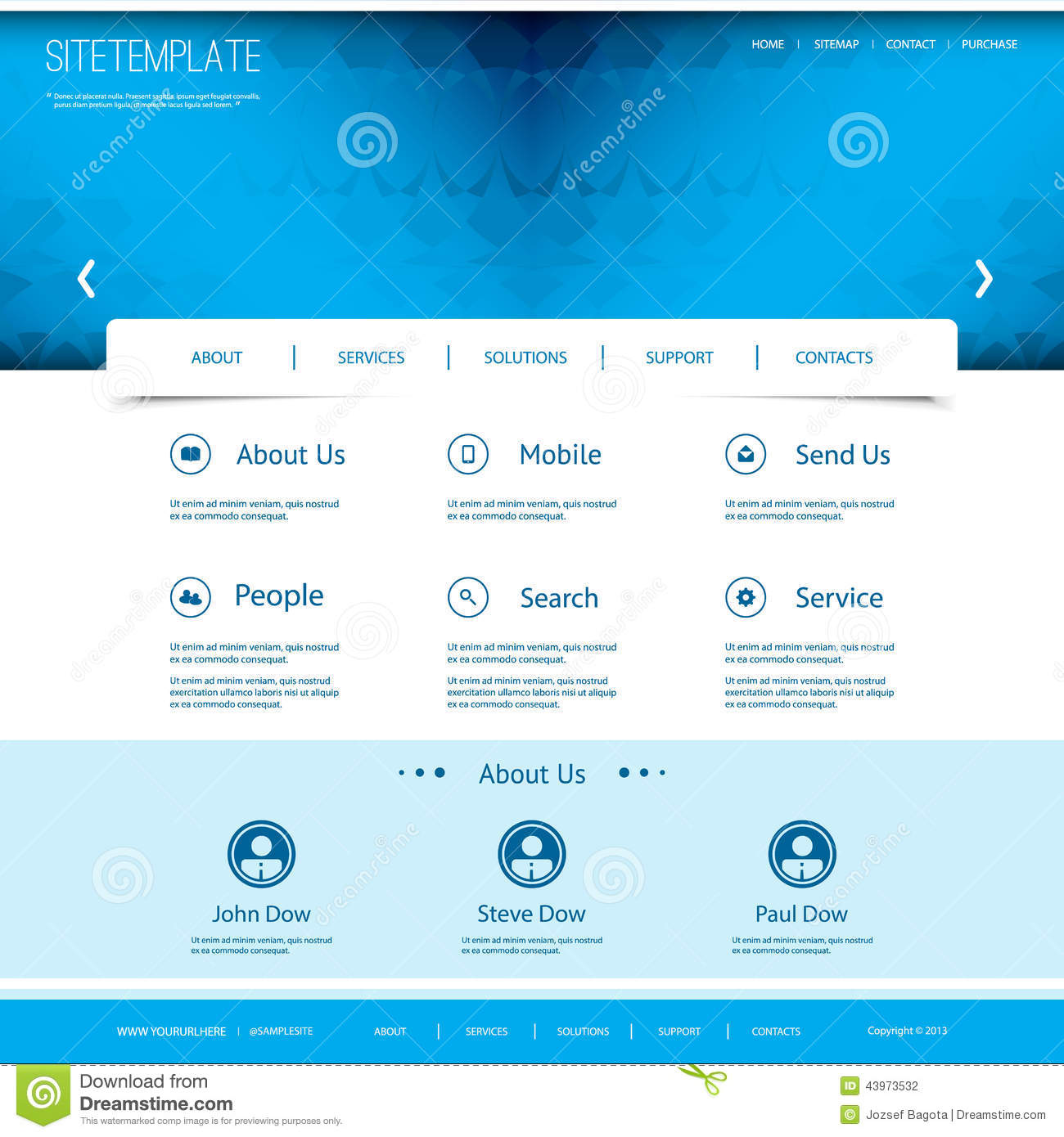 website template with abstract header design stock vector