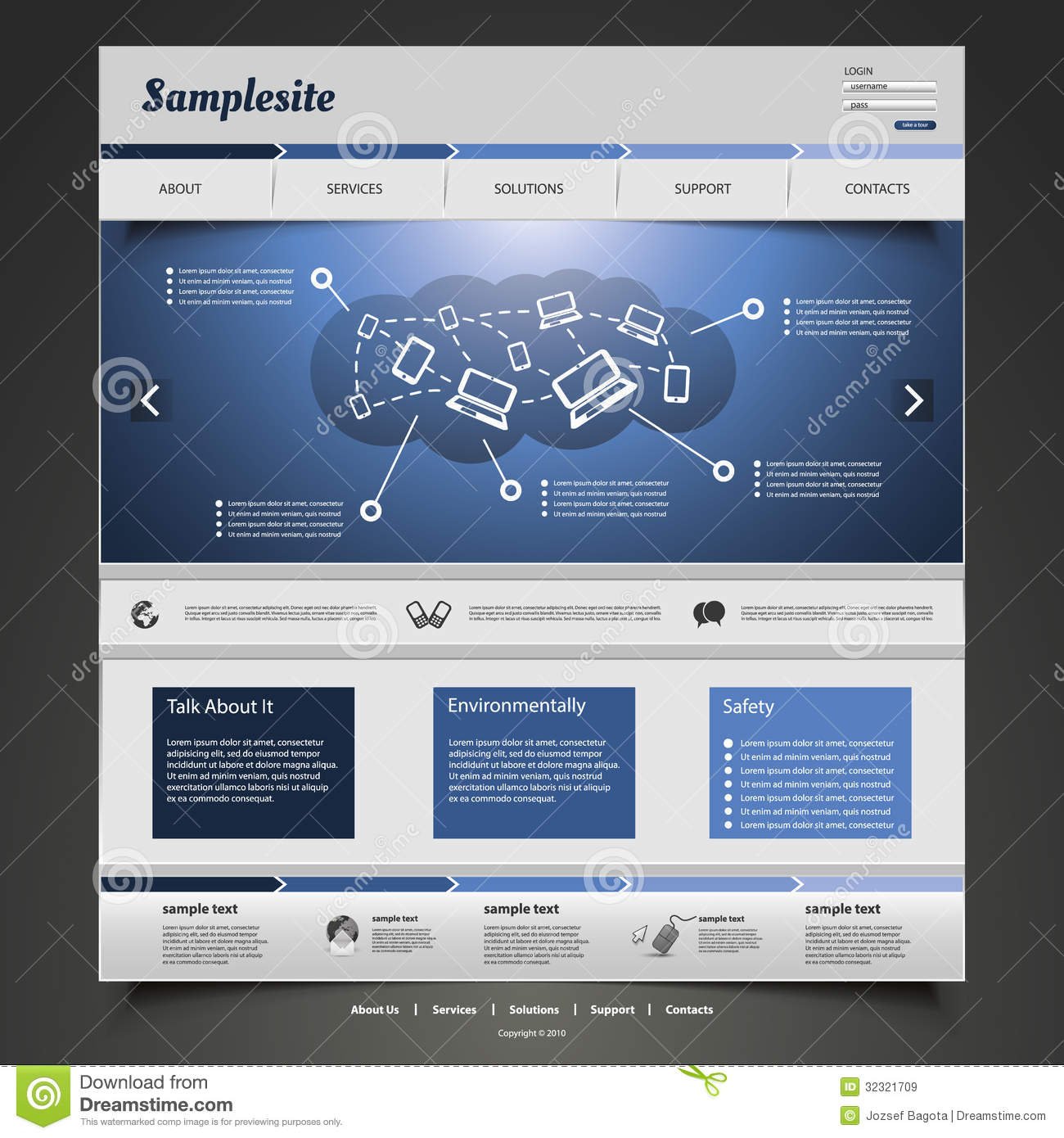 blue modern website design template with icons of connected it devices
