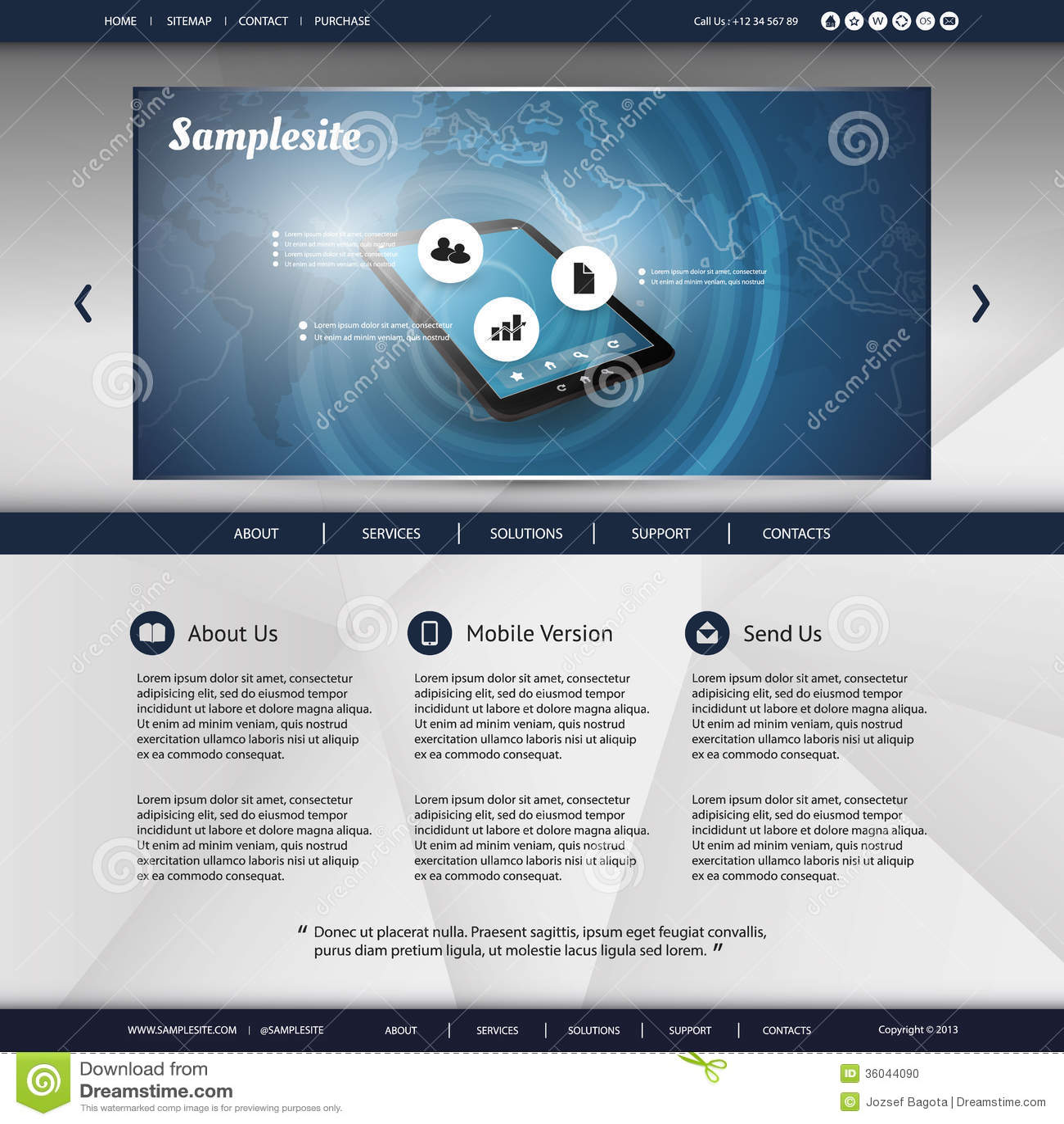 Map Design Website Template: Website Template Stock Photo