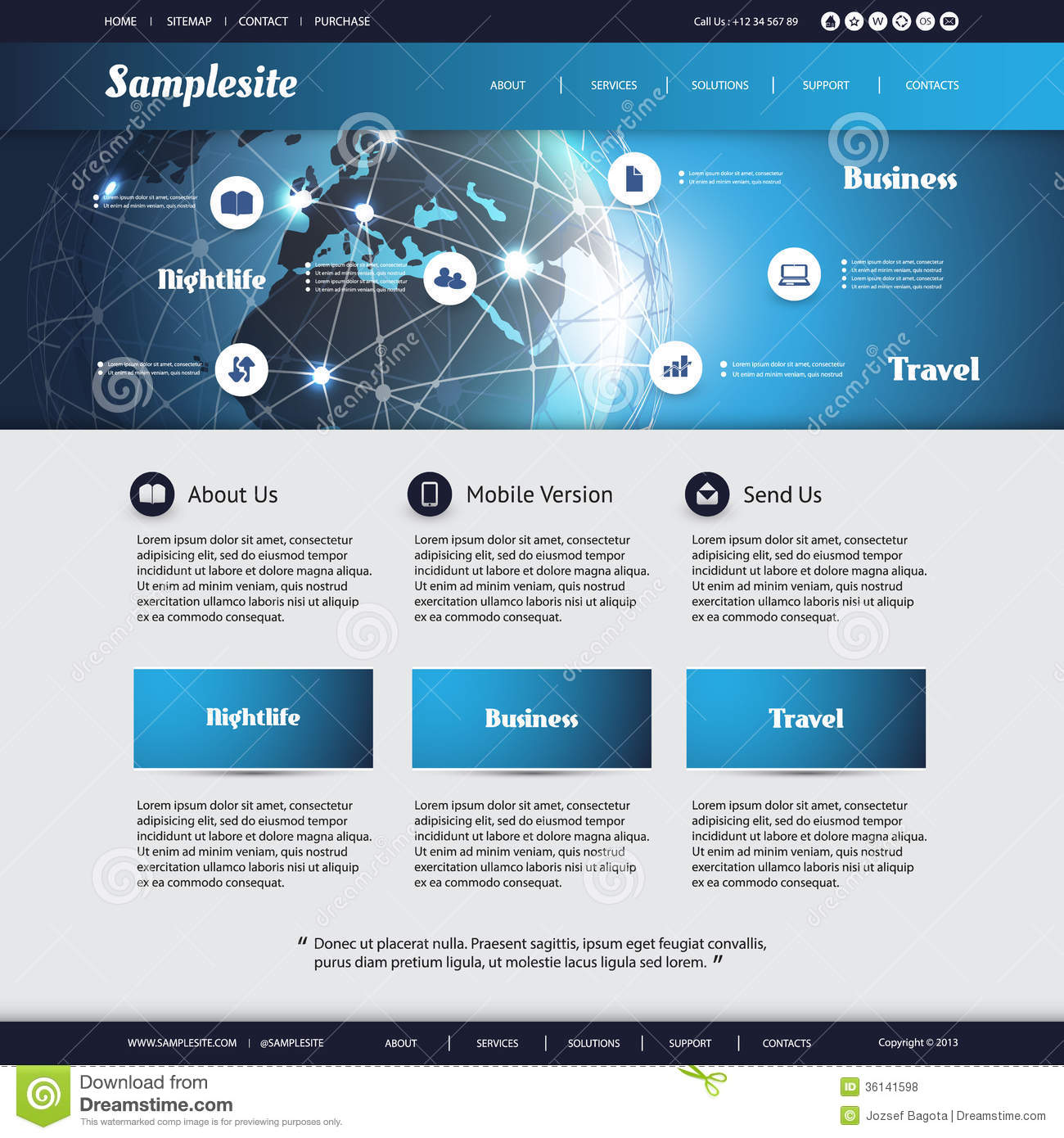 Blue Modern IT or Technology Website Design Template with Earth Globe ...