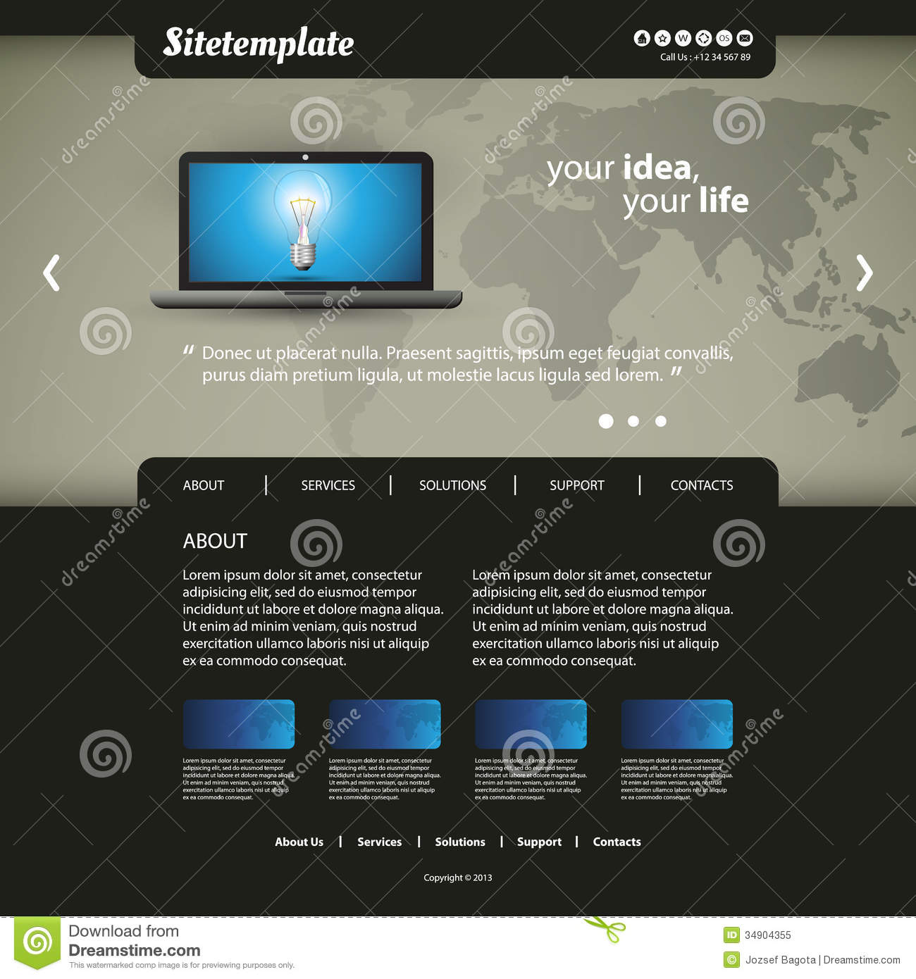 Map Design Website Template: Website Template Royalty Free Stock Photo