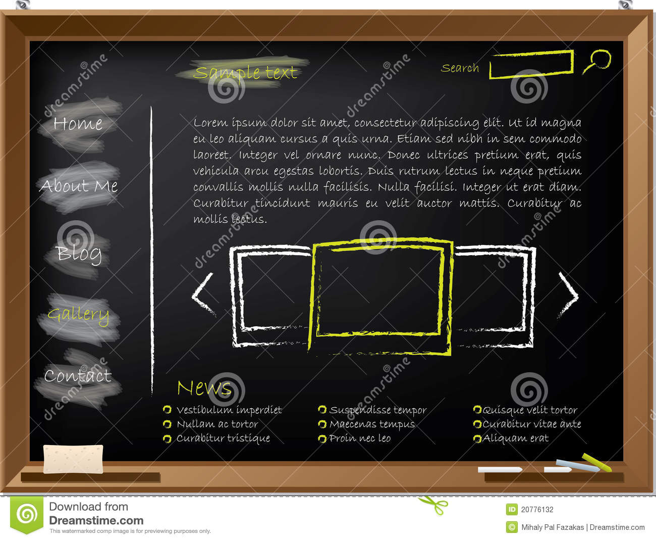 Website template design on blackboard stock vector image for Blackboard design ideas