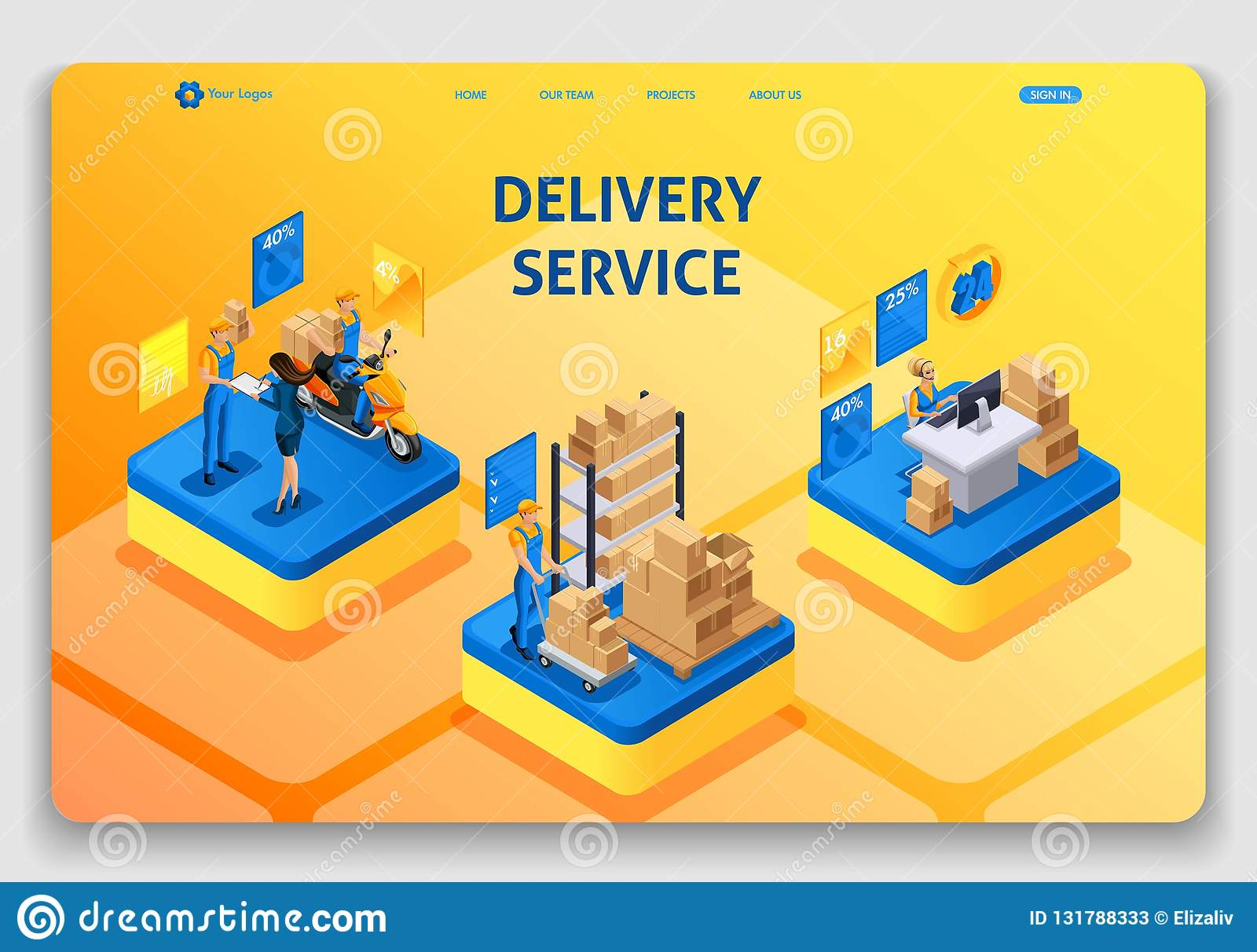website template design isometric concept working with delivery