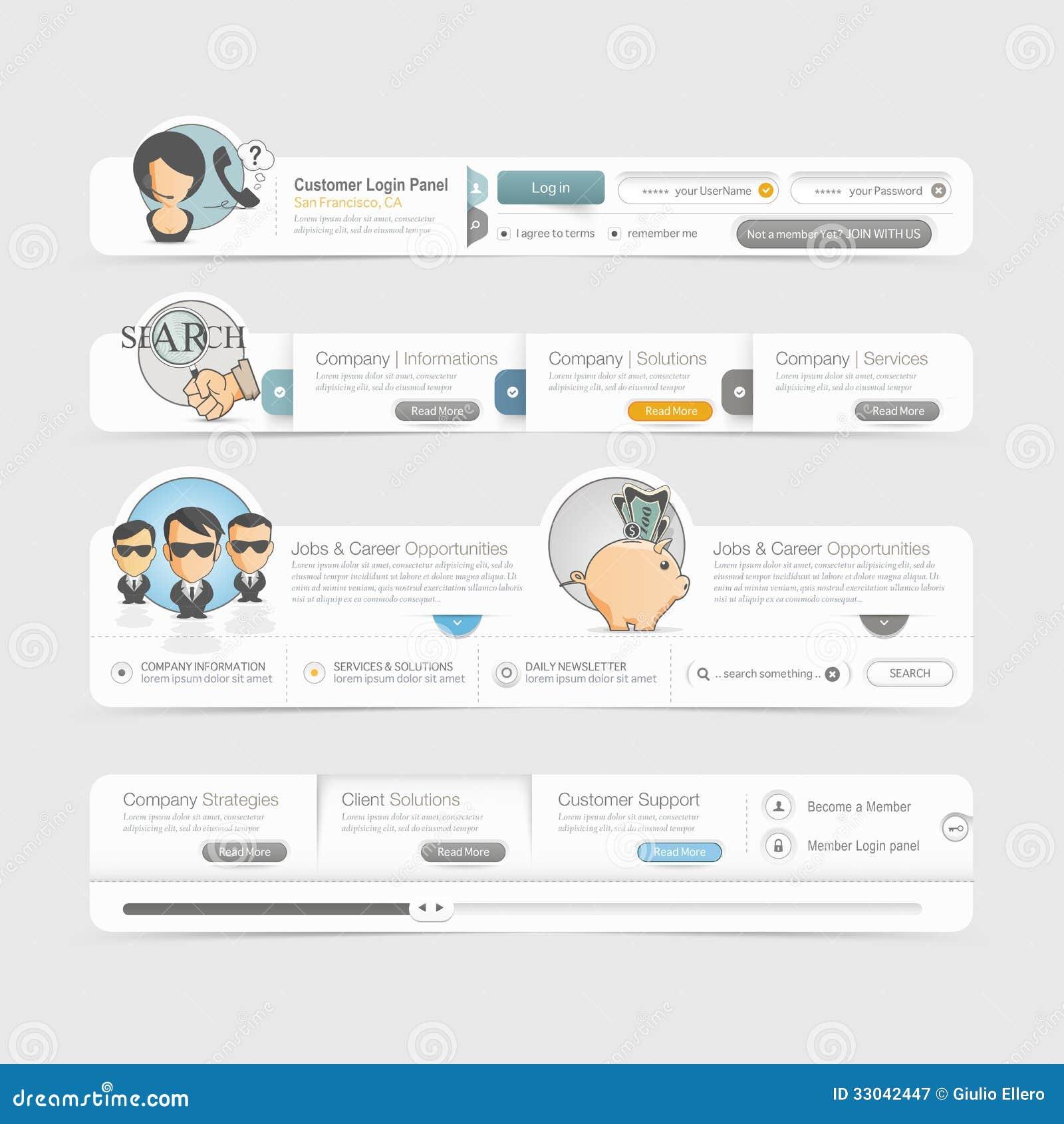 website template design menu navigation elements with icons set stock vector illustration. Black Bedroom Furniture Sets. Home Design Ideas
