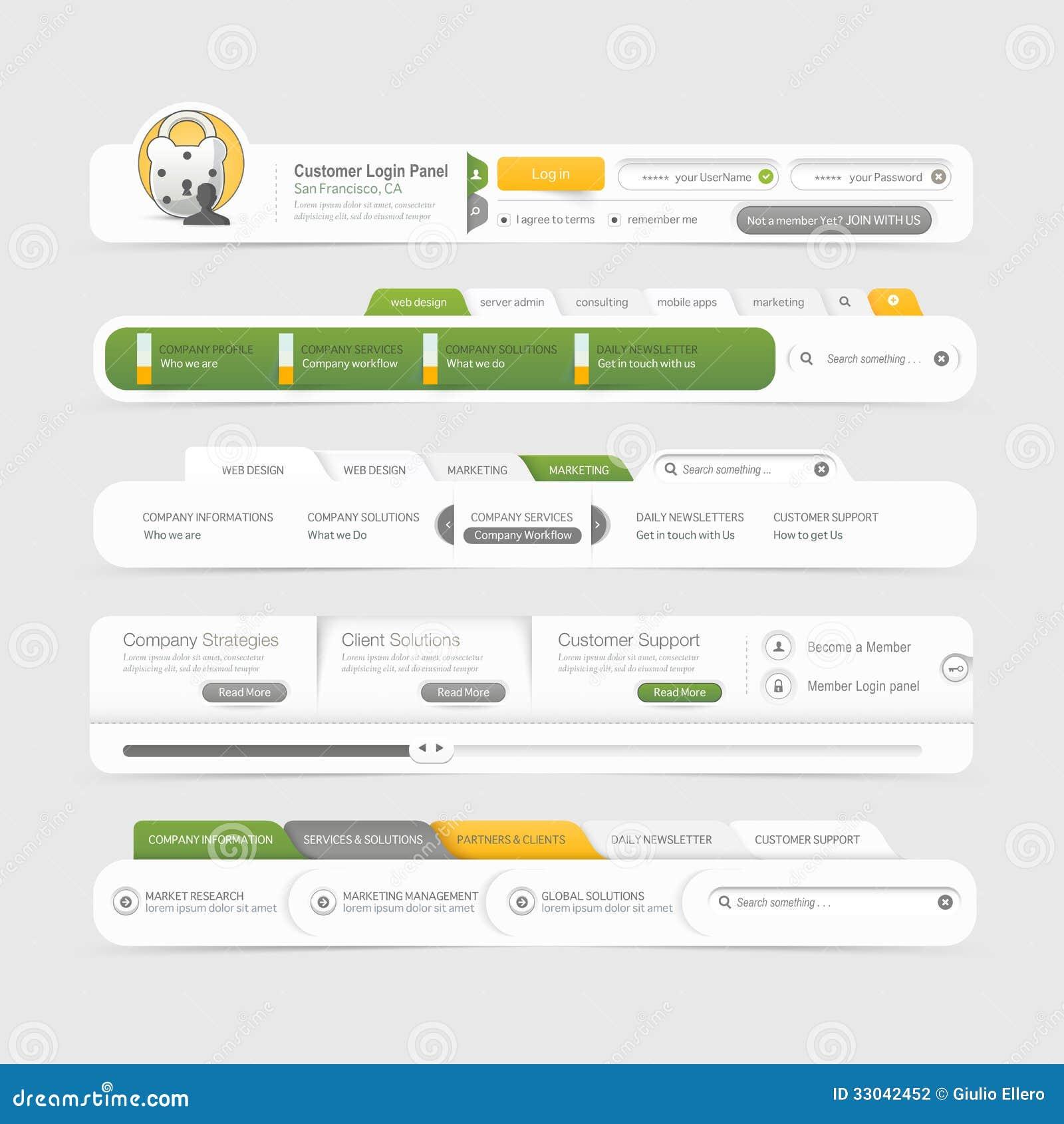 Website Template Design Menu Navigation Elements With Icons Set - Website menu design templates