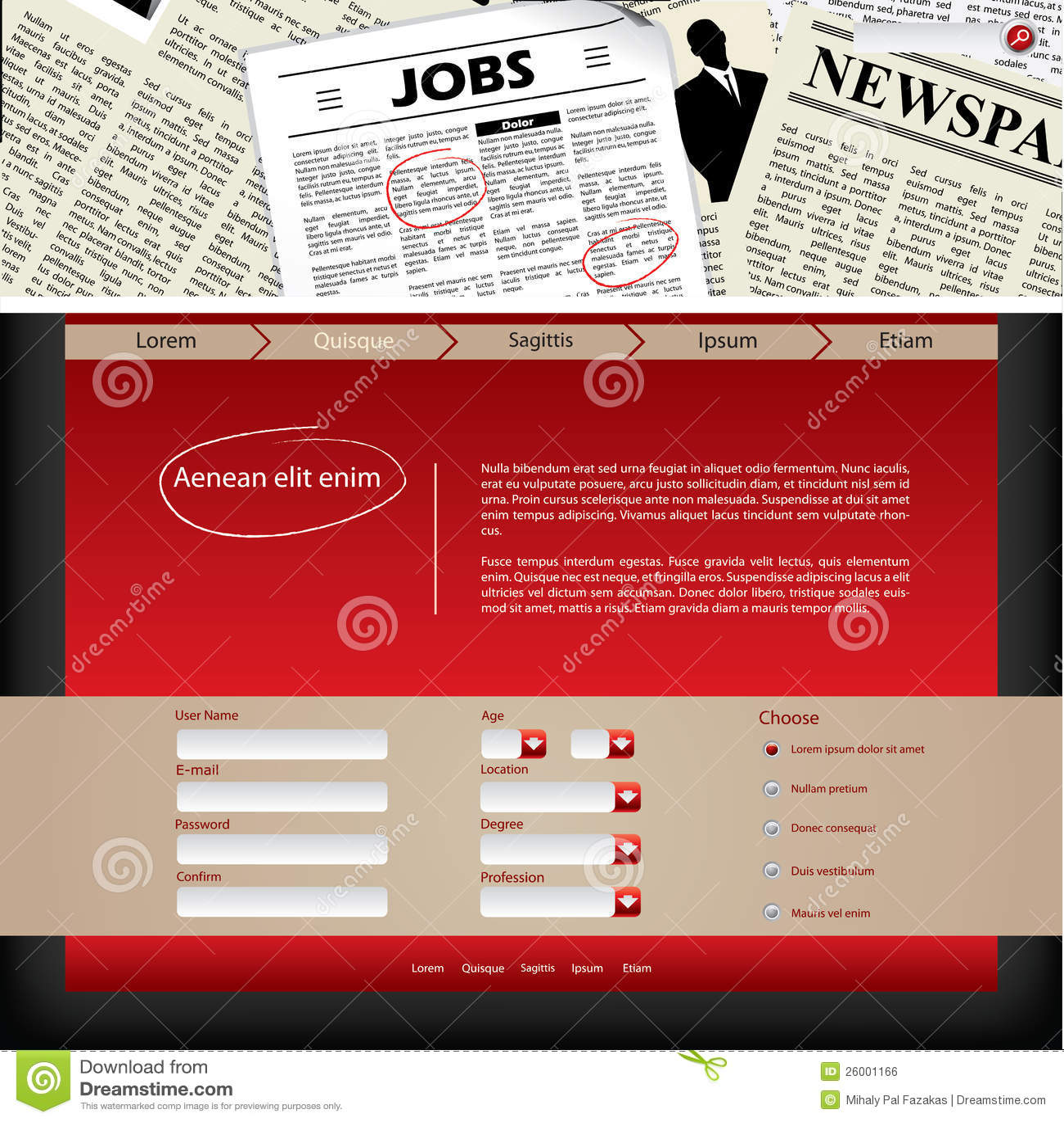 Latest News Header: Website Template Design With Newspaper Header Royalty Free