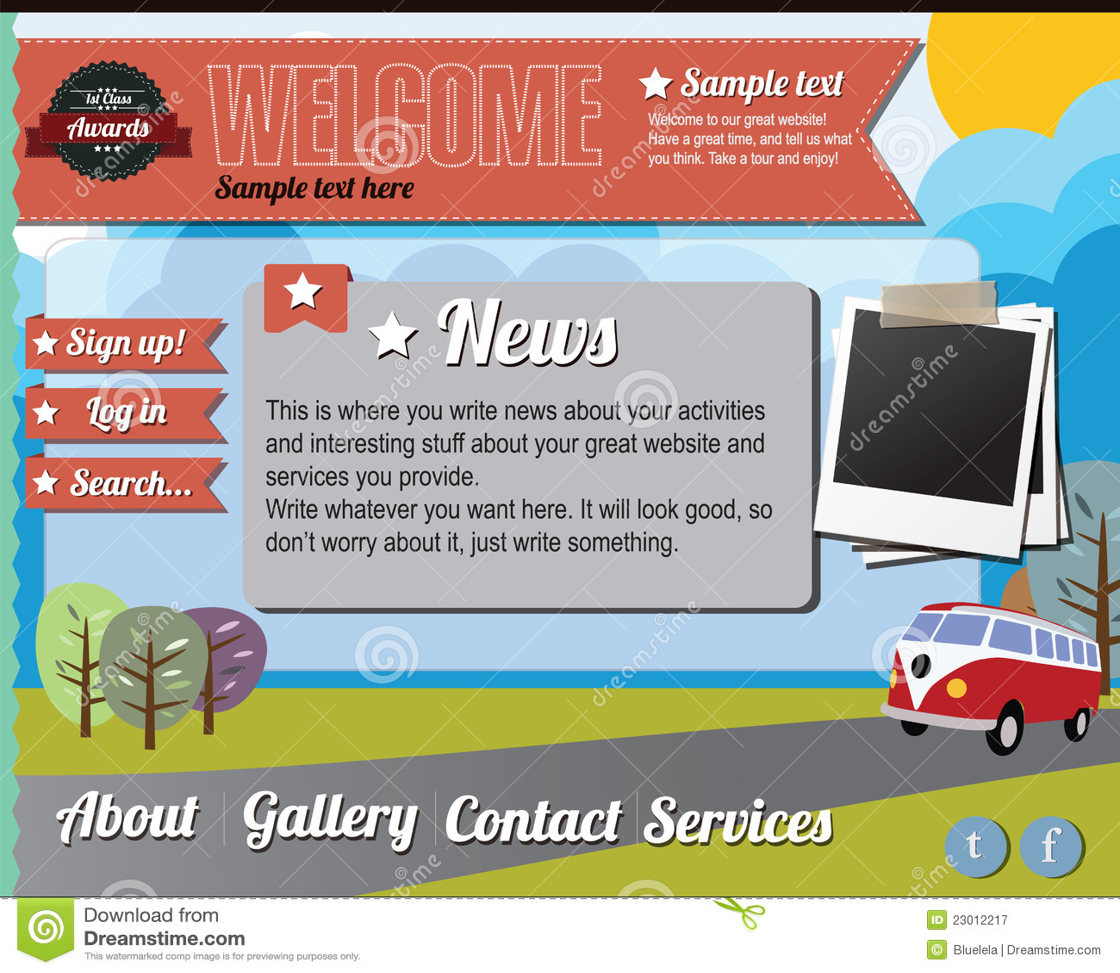 Studio Lighting Website: Website Template Elements, Vintage Style Royalty Free
