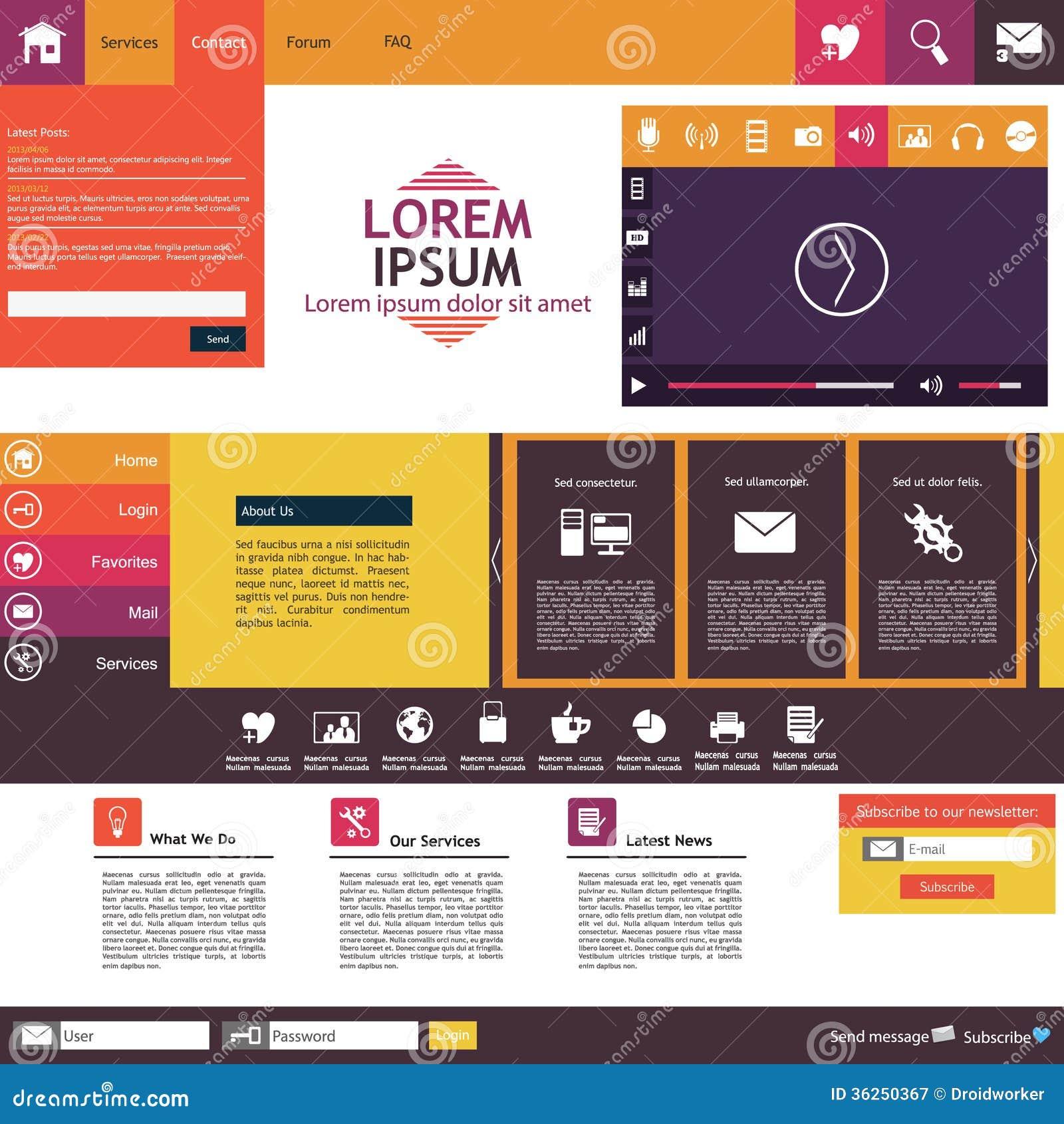 Website Template Flat Design Trend Stock Vector Image 36250367