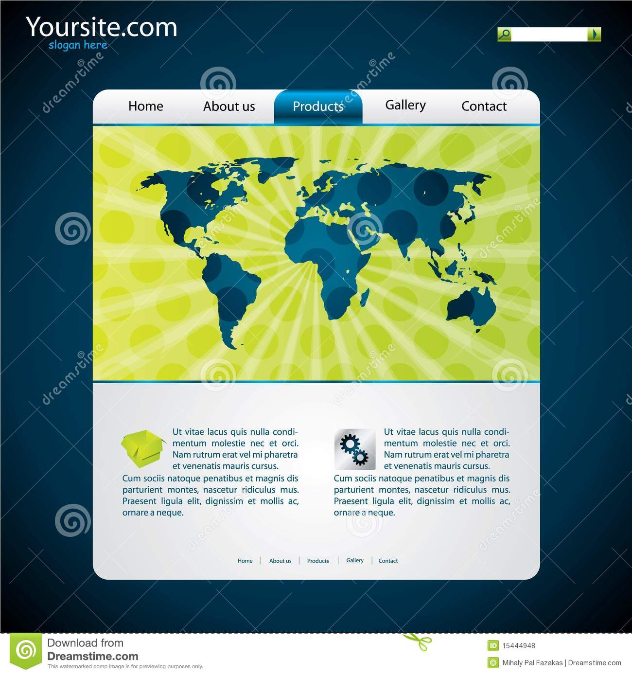 Website template with map stock vector Image