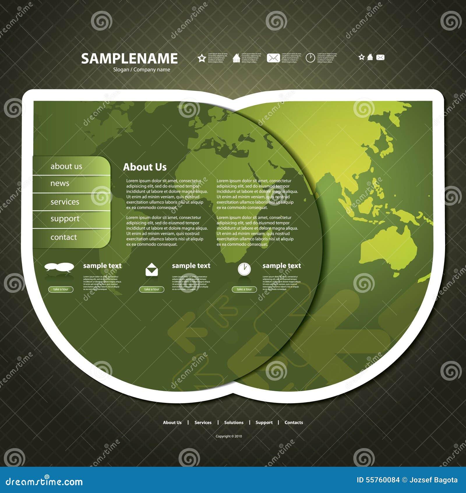 Map Design Website Template: Website Template Stock Vector
