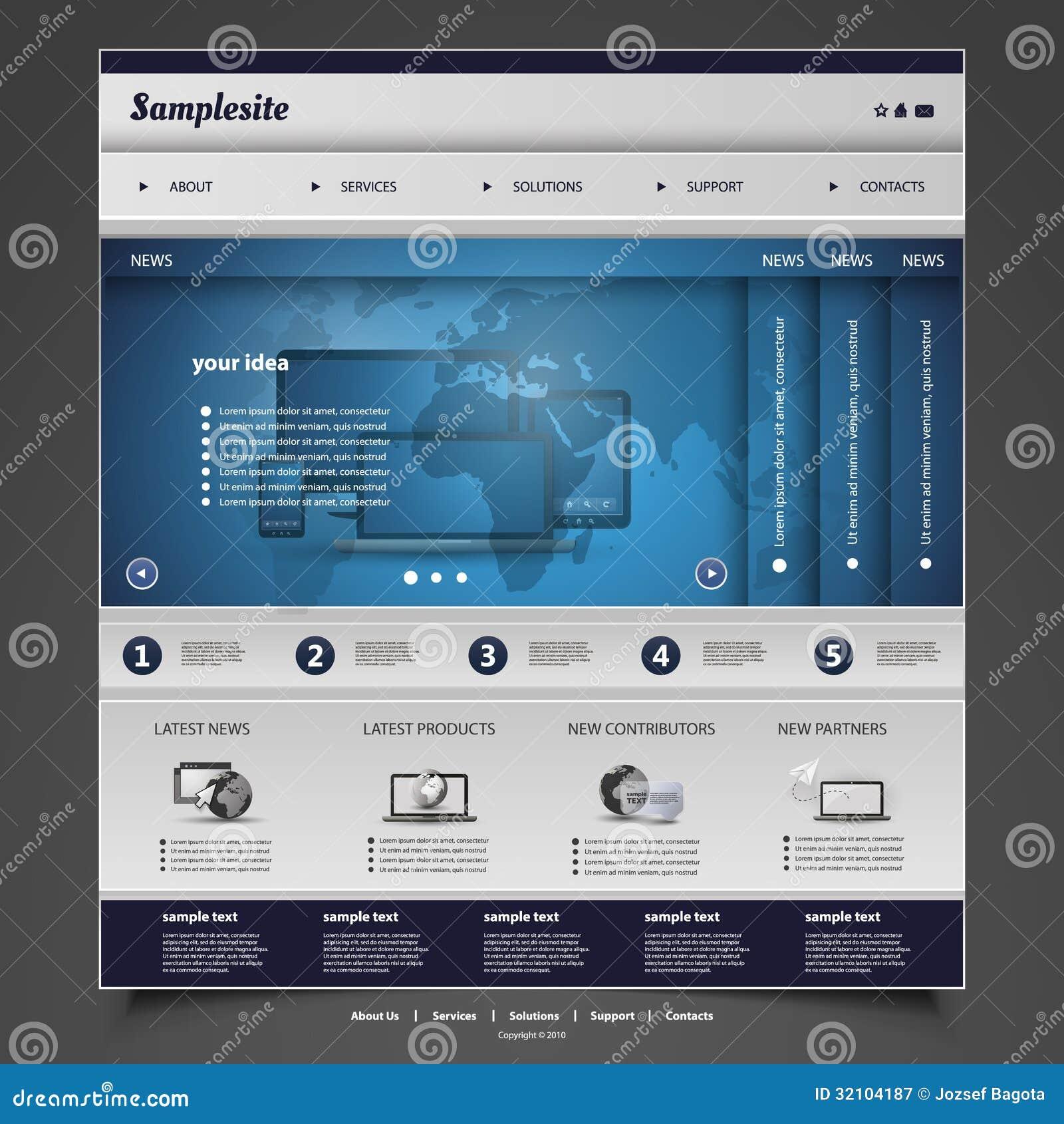 Map Design Website Template: Website Template Stock Vector. Illustration Of Button