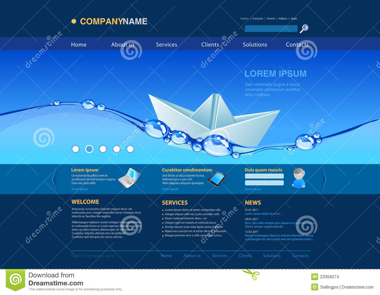 Website Template: Paper Boat In The Water Stock Vector ...
