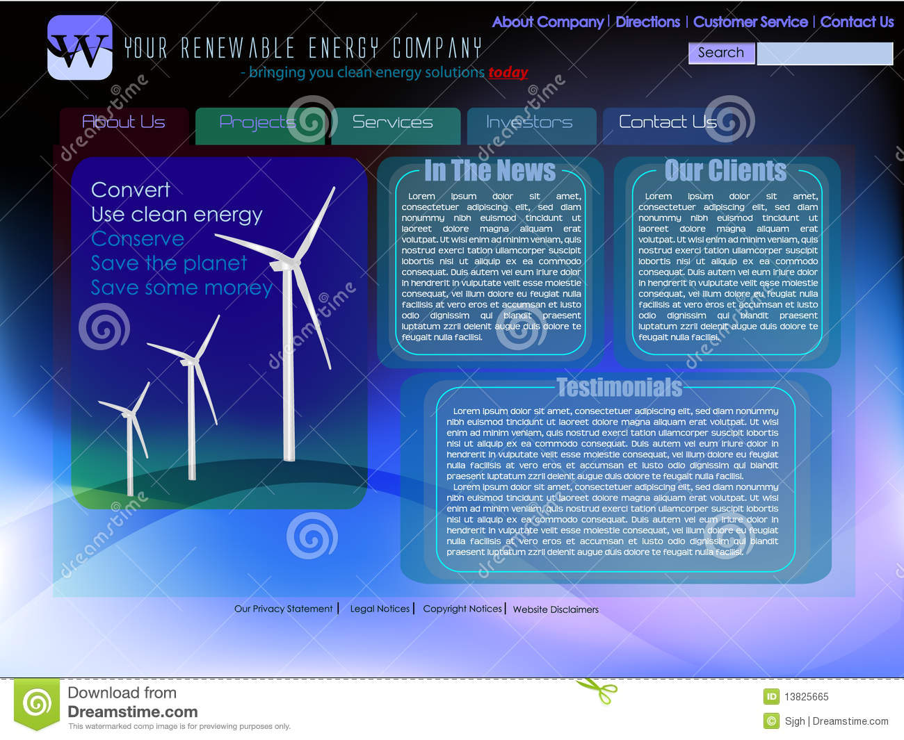 Website Template For Renewable Energy Royalty Free Stock Photo - Image ...