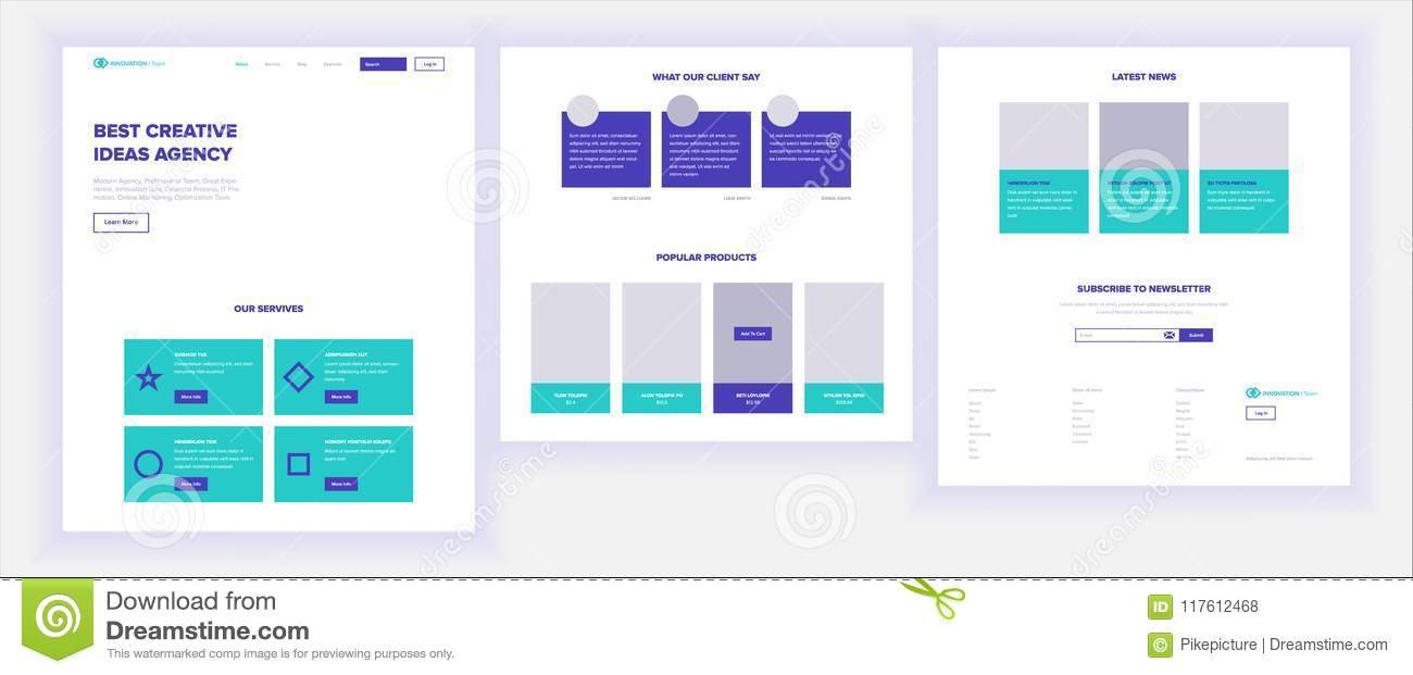 Website Template Vector Page Business Background Shopping Online