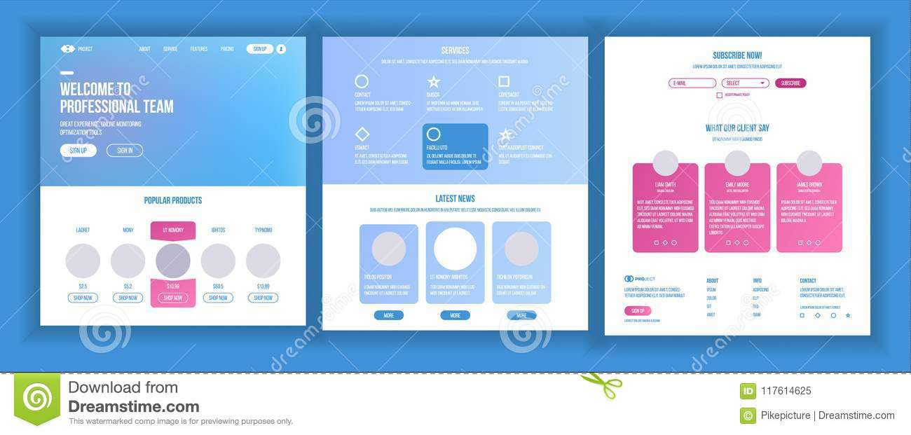 Website Template Vector. Page Business Interface. Landing Web Page ...