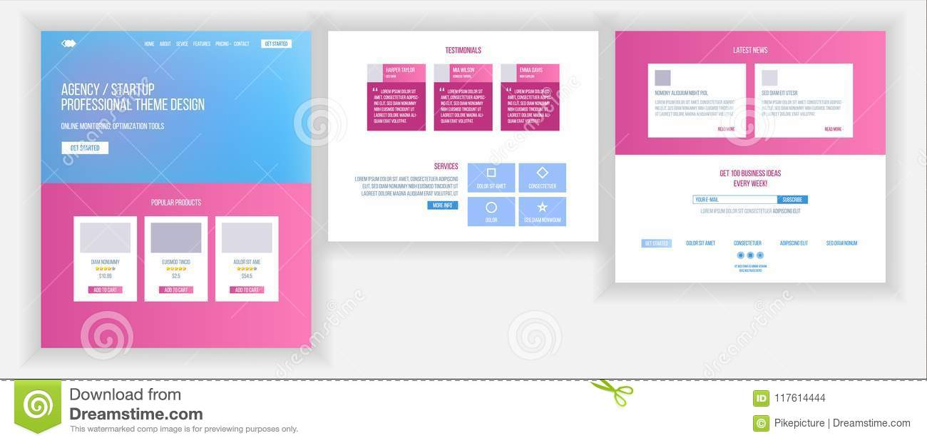 Website Template Vector. Page Business Project. Landing Web Page ...