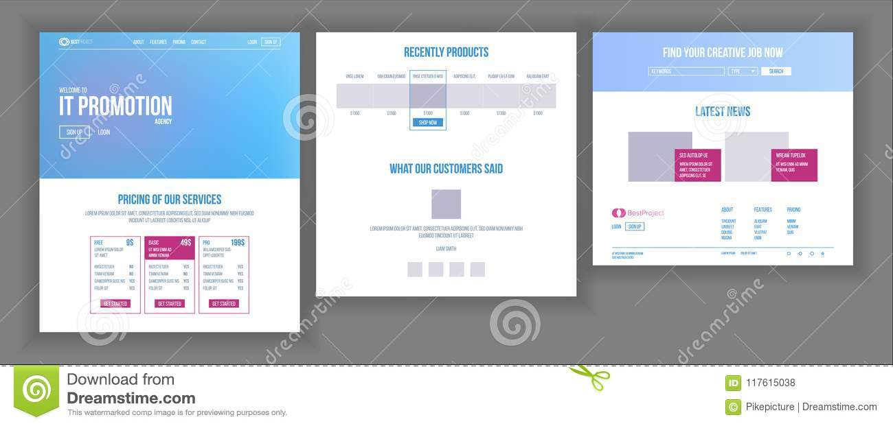 Website Template Vector Page Business Project Shopping Online