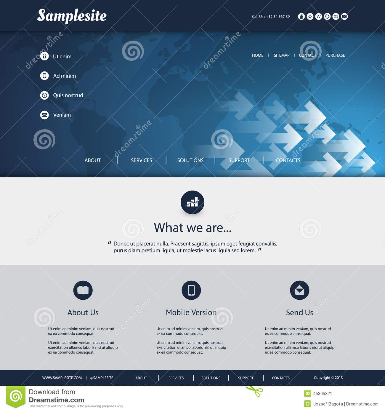 Site Map Template: Website Template With World Map And Arrows Pattern Design