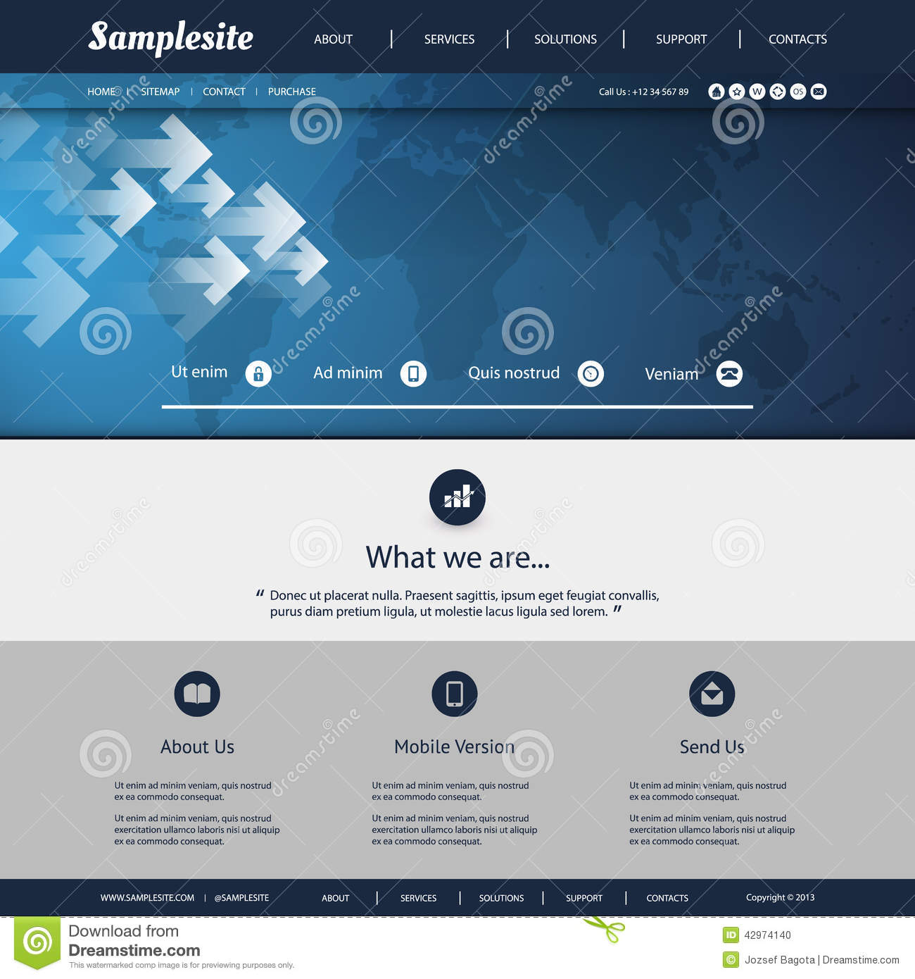 Website Map Template: Website Template With World Map Background Design Stock