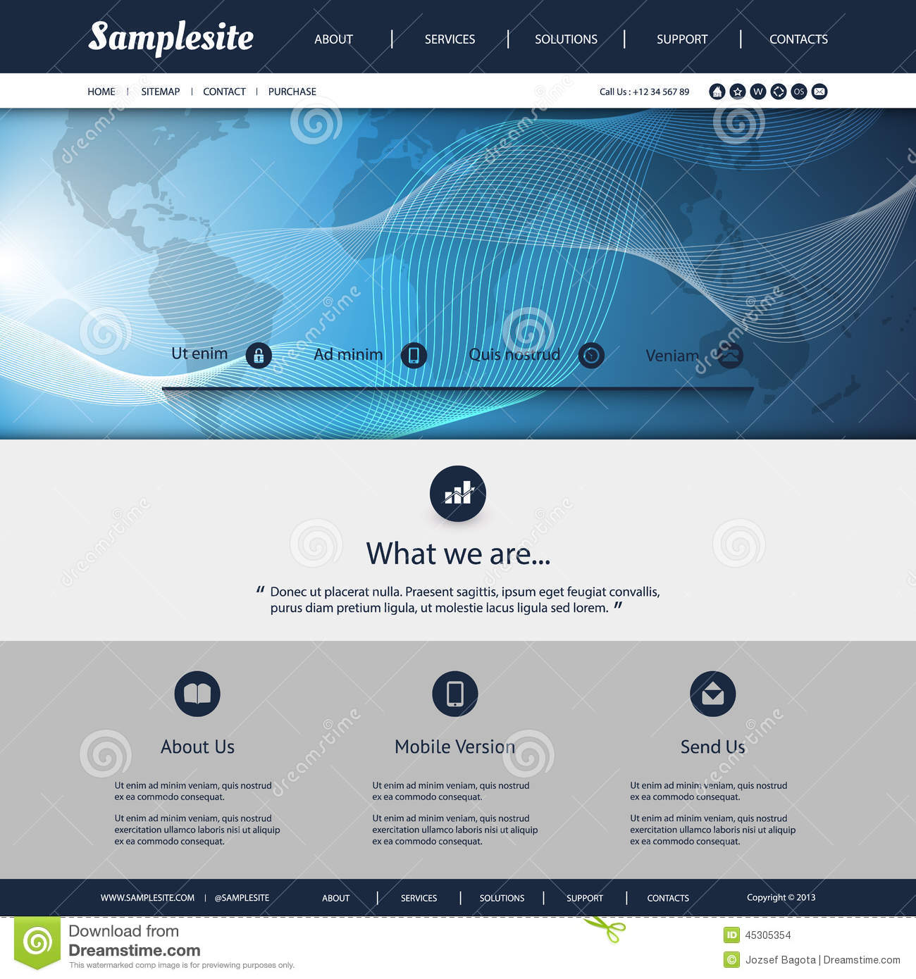 Map Design Website Template: Website Template With World Map And Wavy Lines Pattern