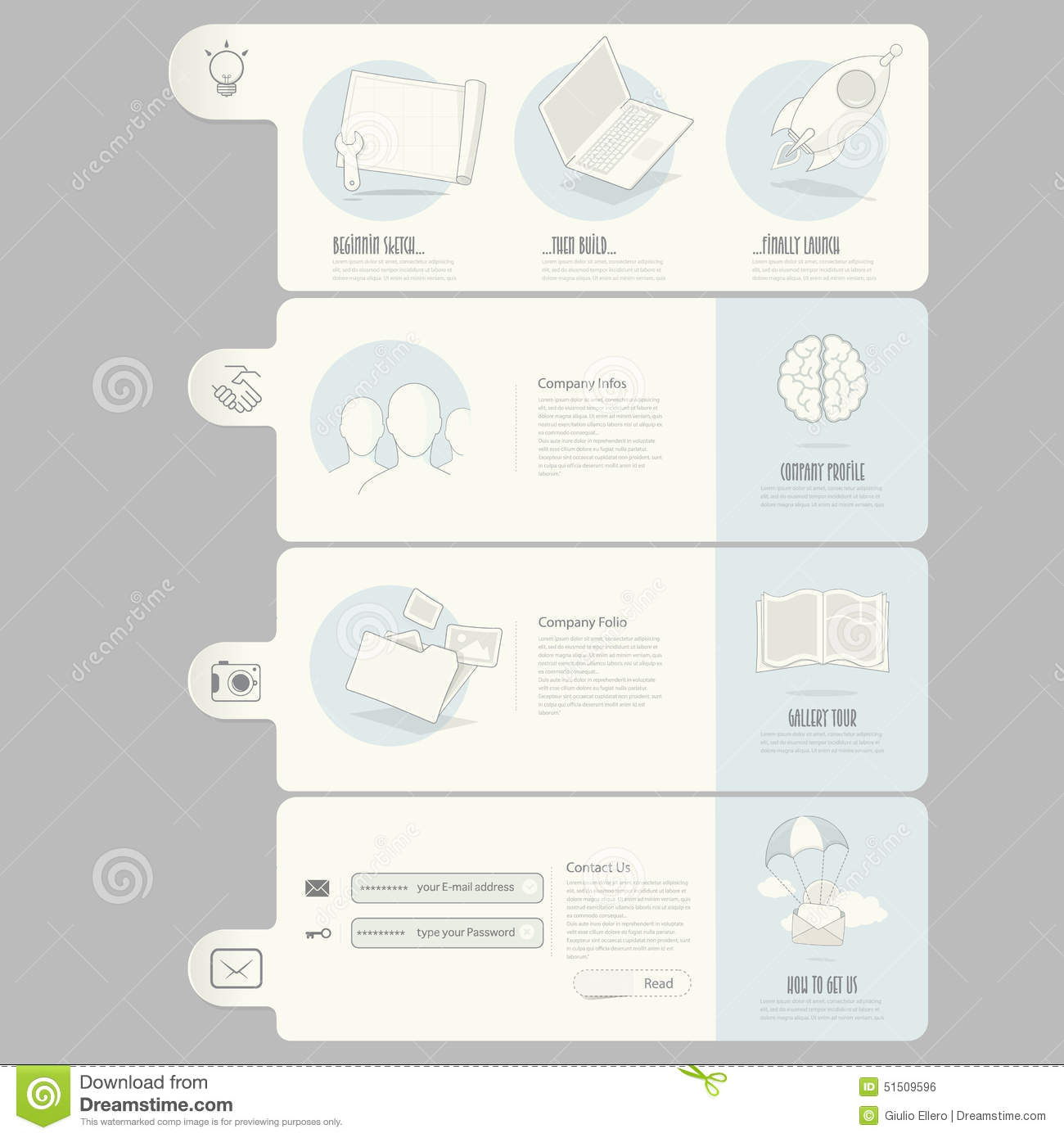 Website templates elements for company portfolio stock for Company portfolio template doc