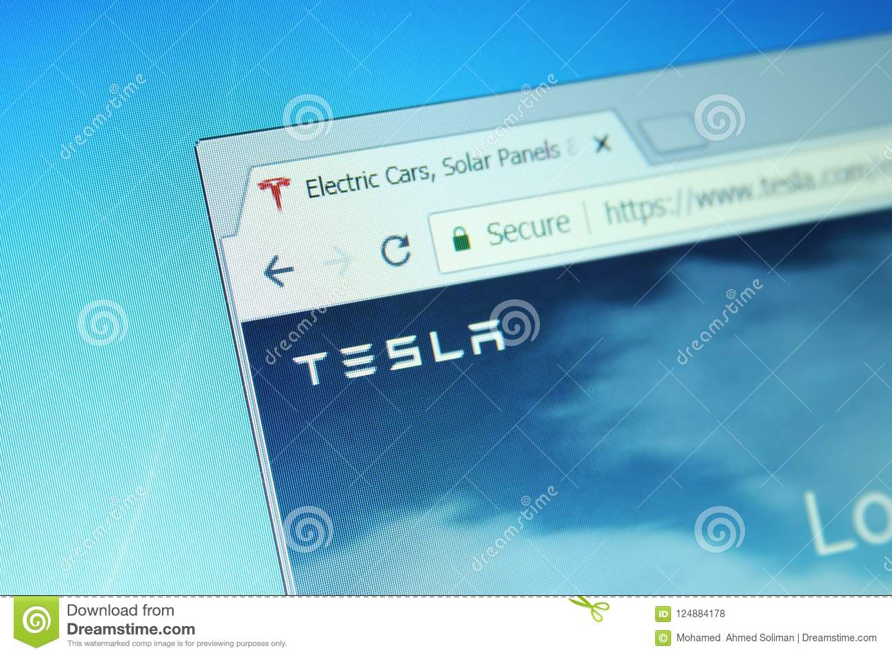Tesla company editorial stock photo  Image of computer