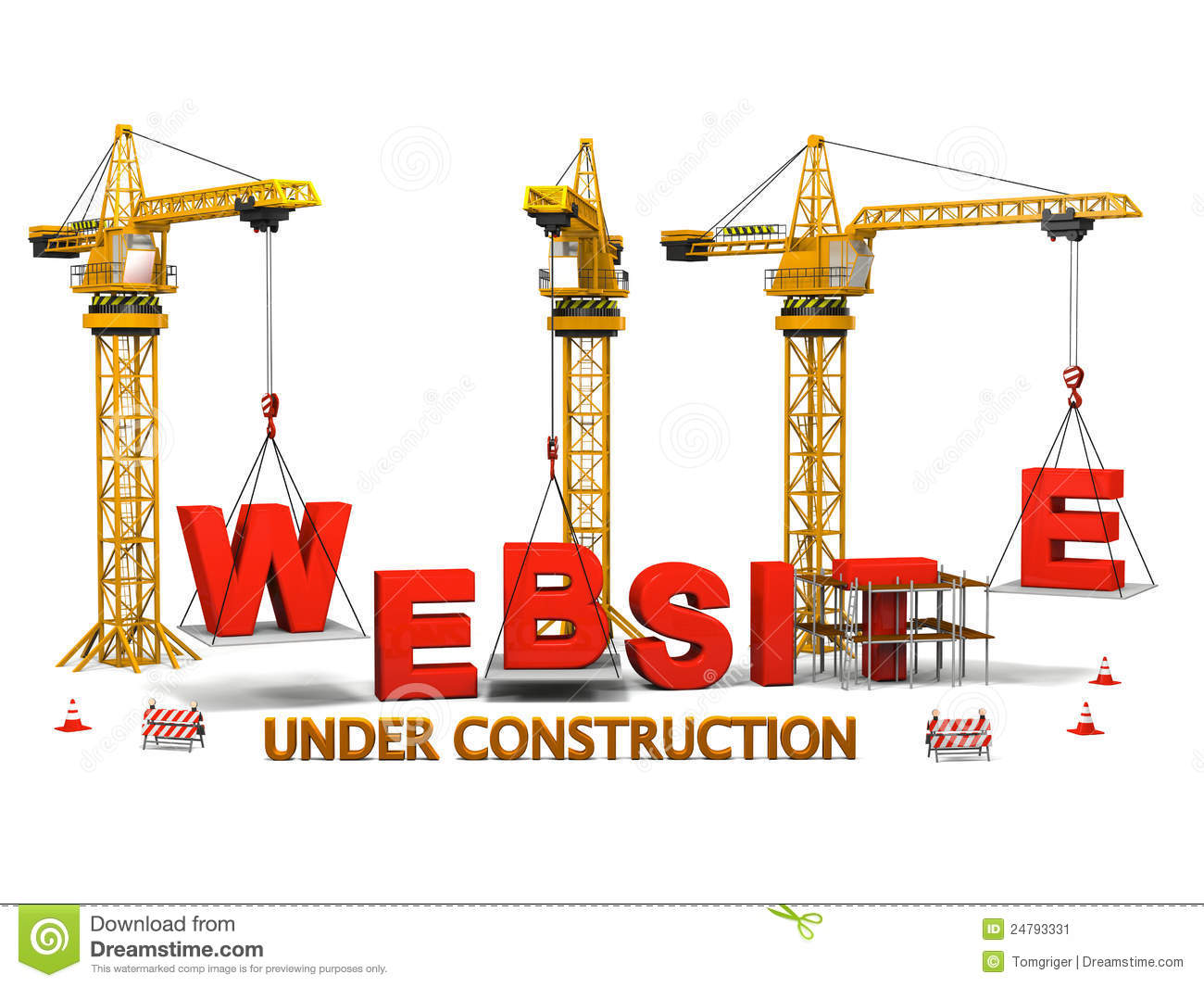 Concept of construction cranes building a website isolated on white ...